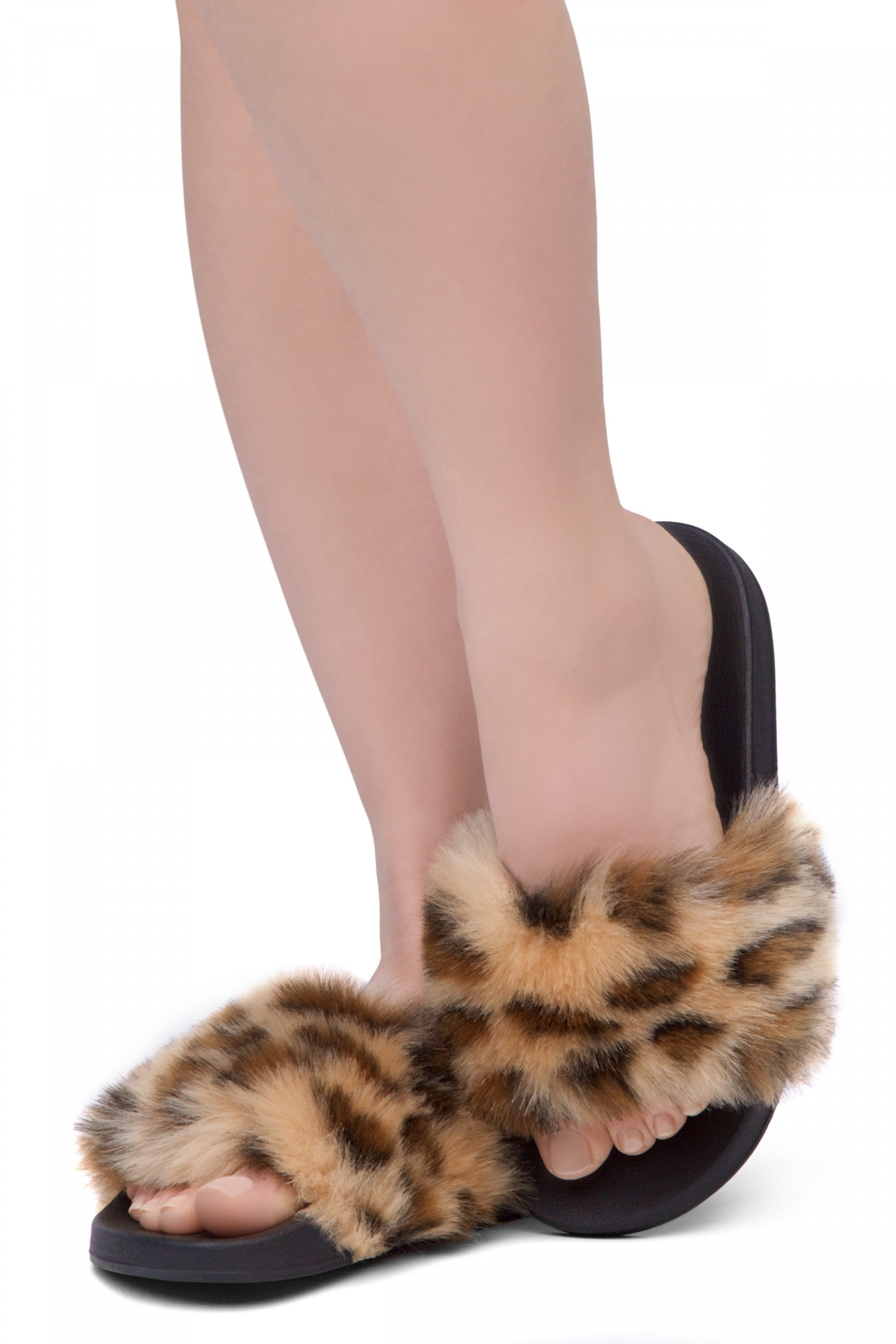 Shoe Land NIKINI Womens Fur Slides Fuzzy Slippers Fashion Fluffy Comfort Flat Sandals(2020 Leopard/Black)
