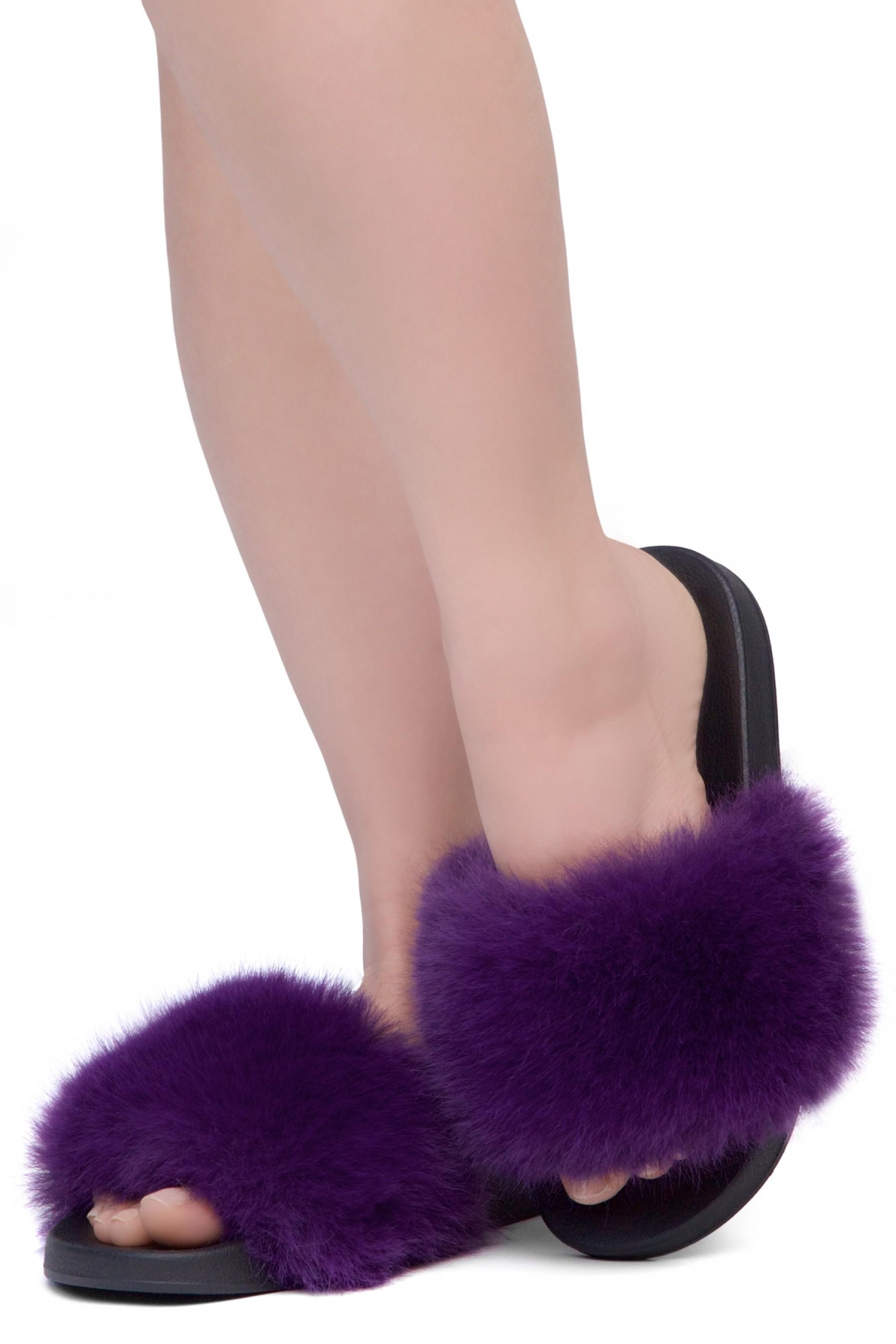 Shoe Land NIKINI Womens Fur Slides Fuzzy Slippers Fashion Fluffy Comfort Flat Sandals(2020 Purple/Black)
