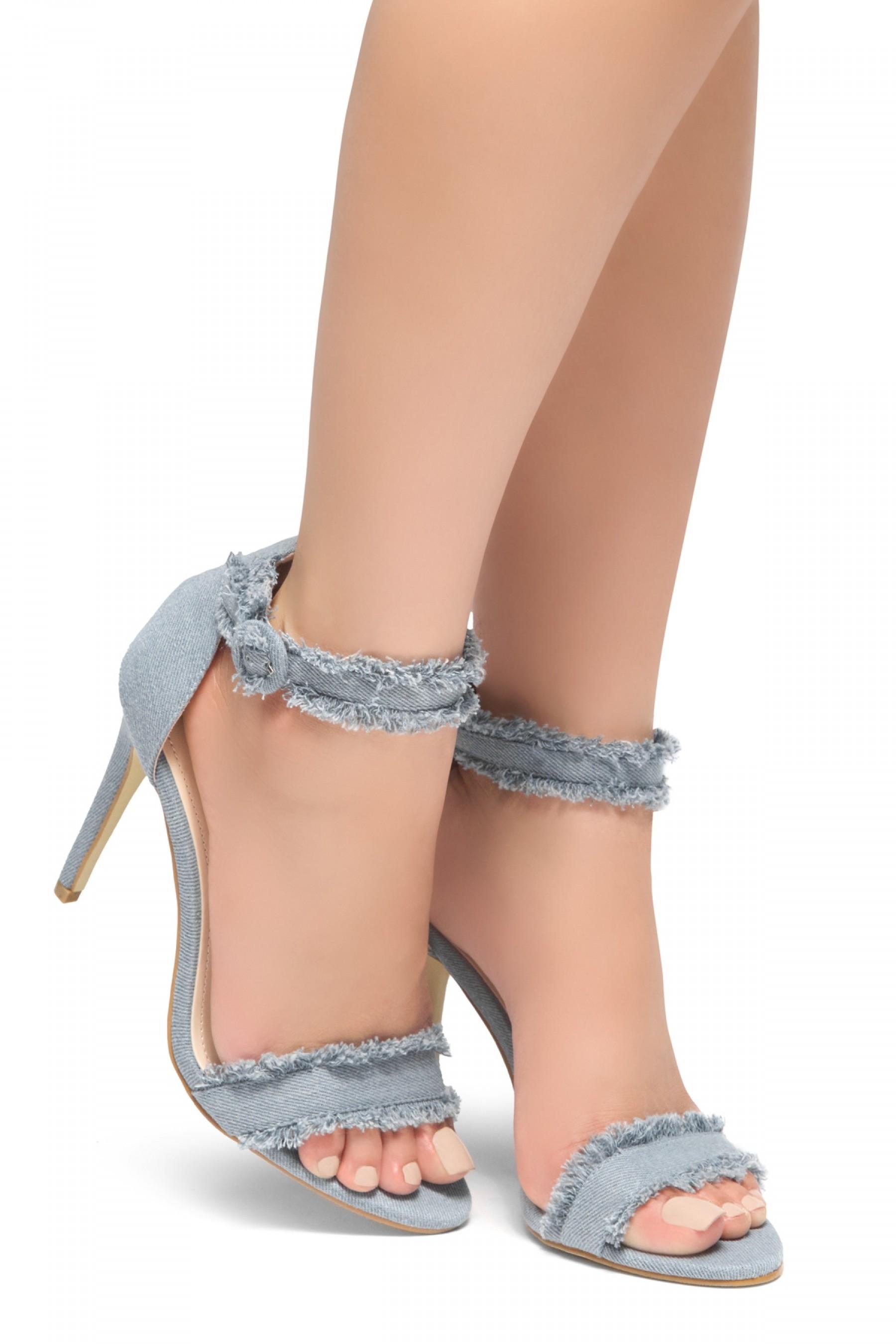 HerStyle NIKOLETTE-Stiletto heel, distressed details, Ankle strap (Blu DM)