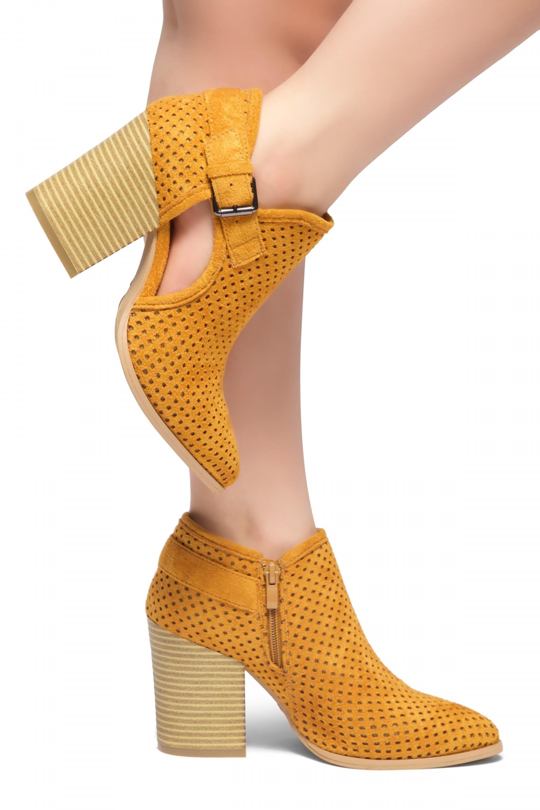 HerStyle NOMAD-Stacked Heel Almond Toe Booties (Cognac)