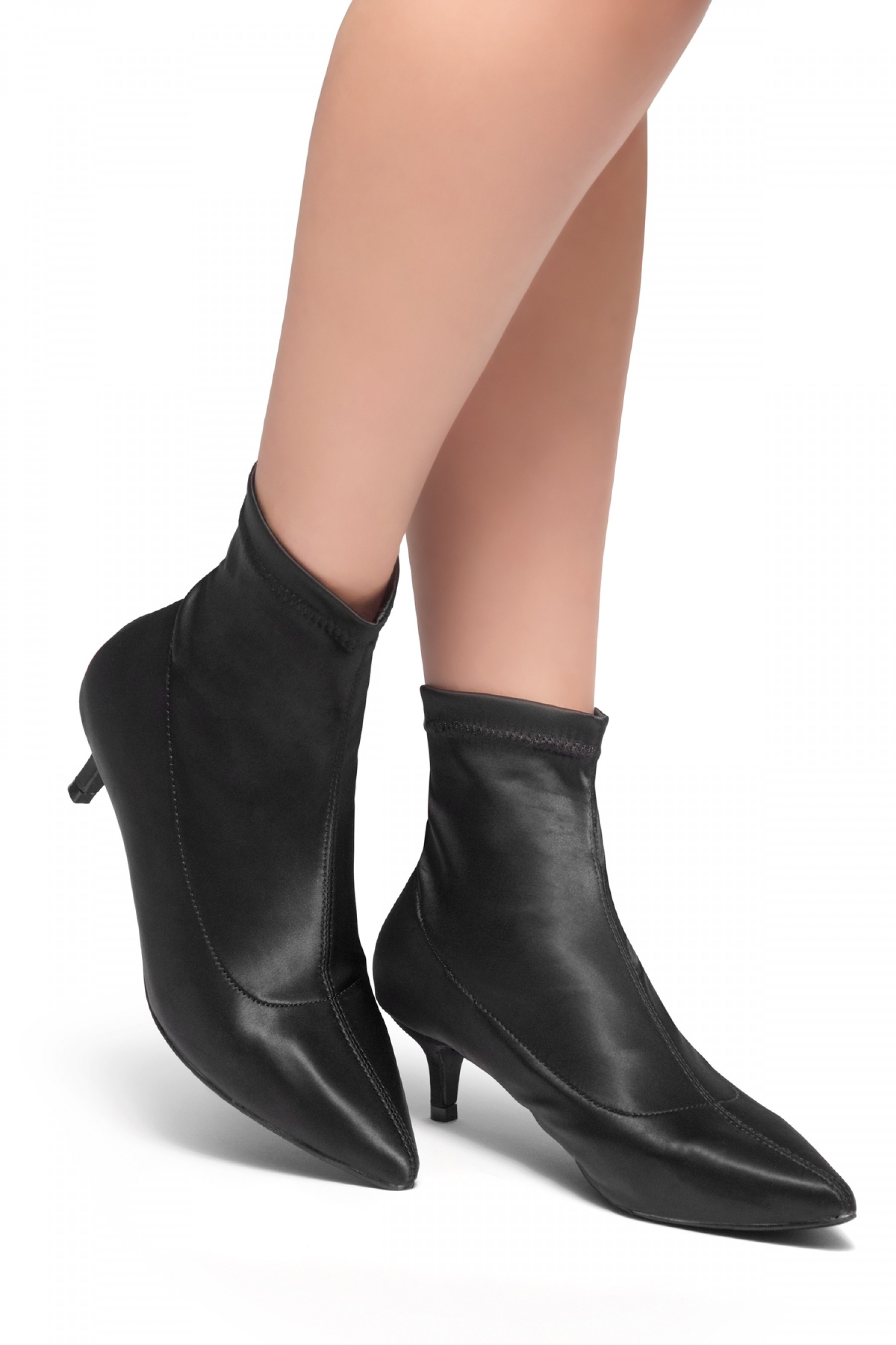 Norell-Kitten Heel Ankle Sock Boot (Black)