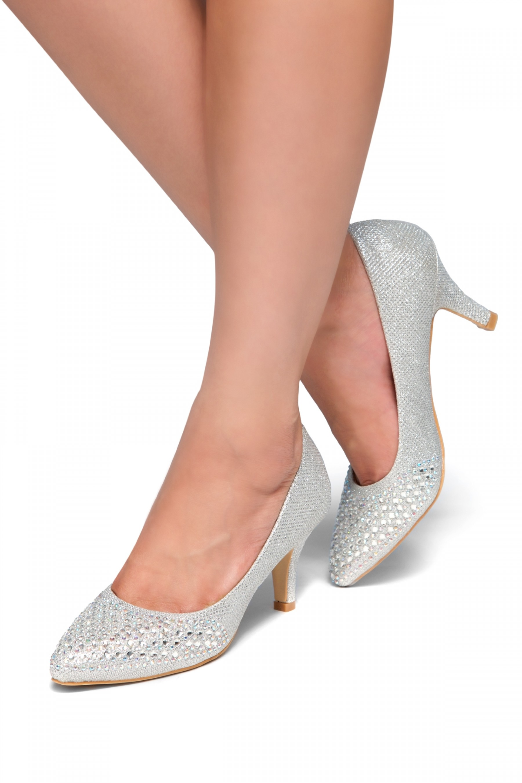 HerStyle Olivarra-Kitten heel, jeweled embellishments(Silver)