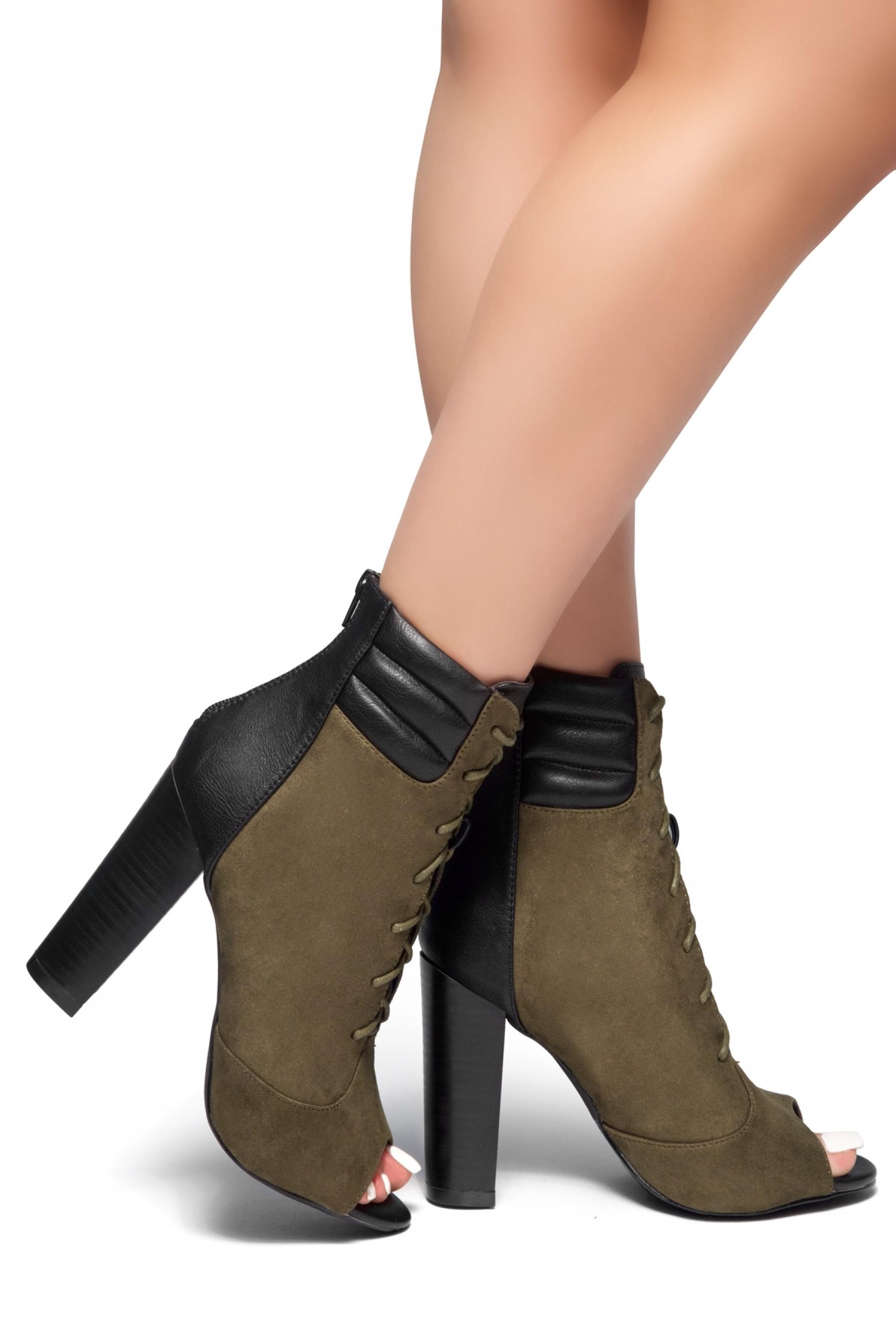 On Da Block- a peep toe, chunky heel booties (Olive)