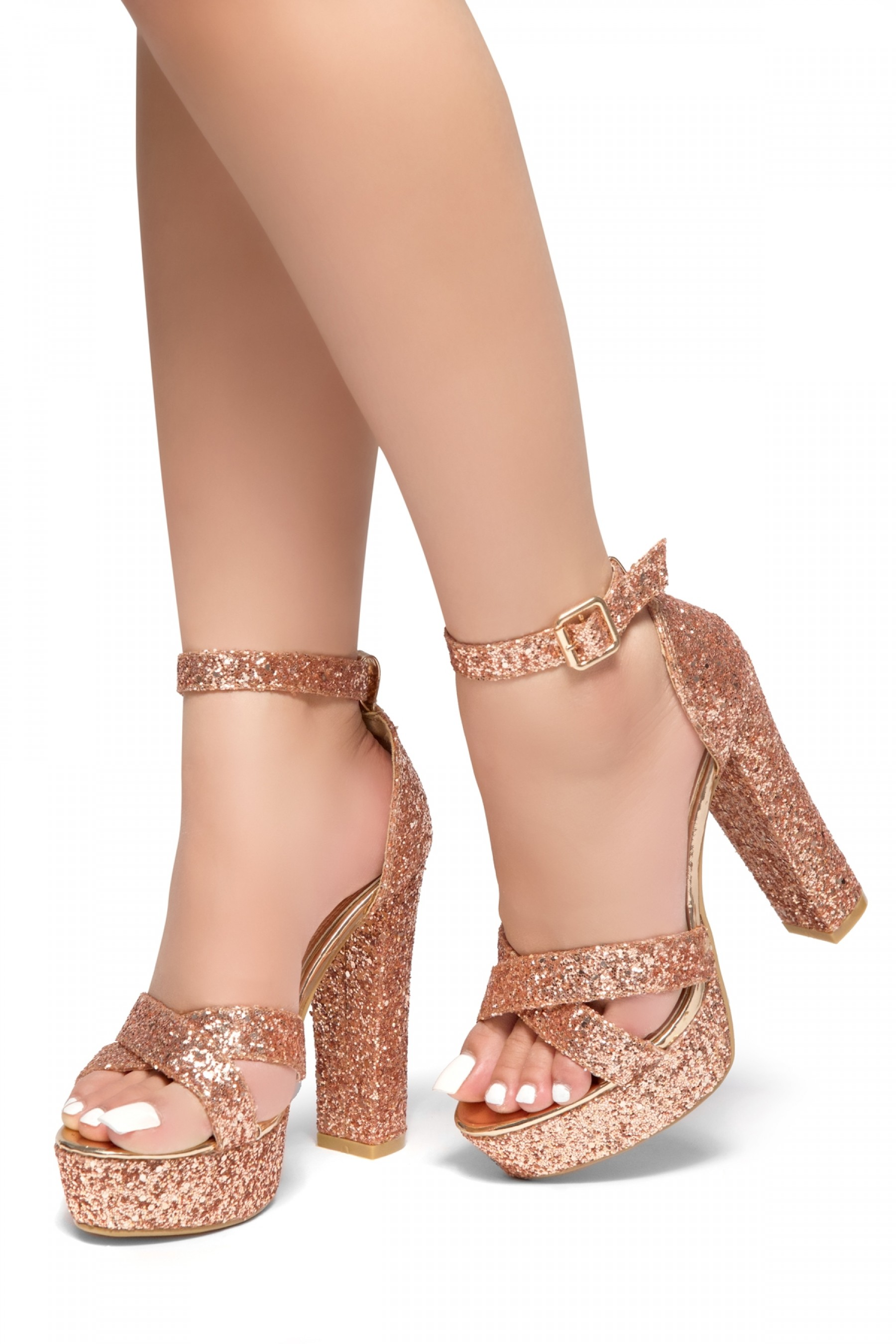 a92145563ae HerStyle PLAY DATE-Glitter with platform sandals (RoseGold Glitter)