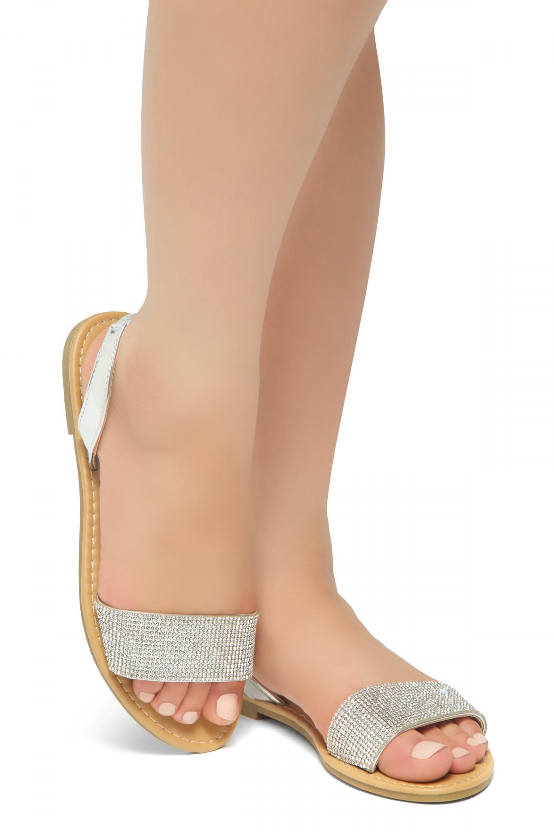 HerStyle Women's Manmade Pretty Nice Slip-On Rhinestone Vamp Sandals  (Silver)