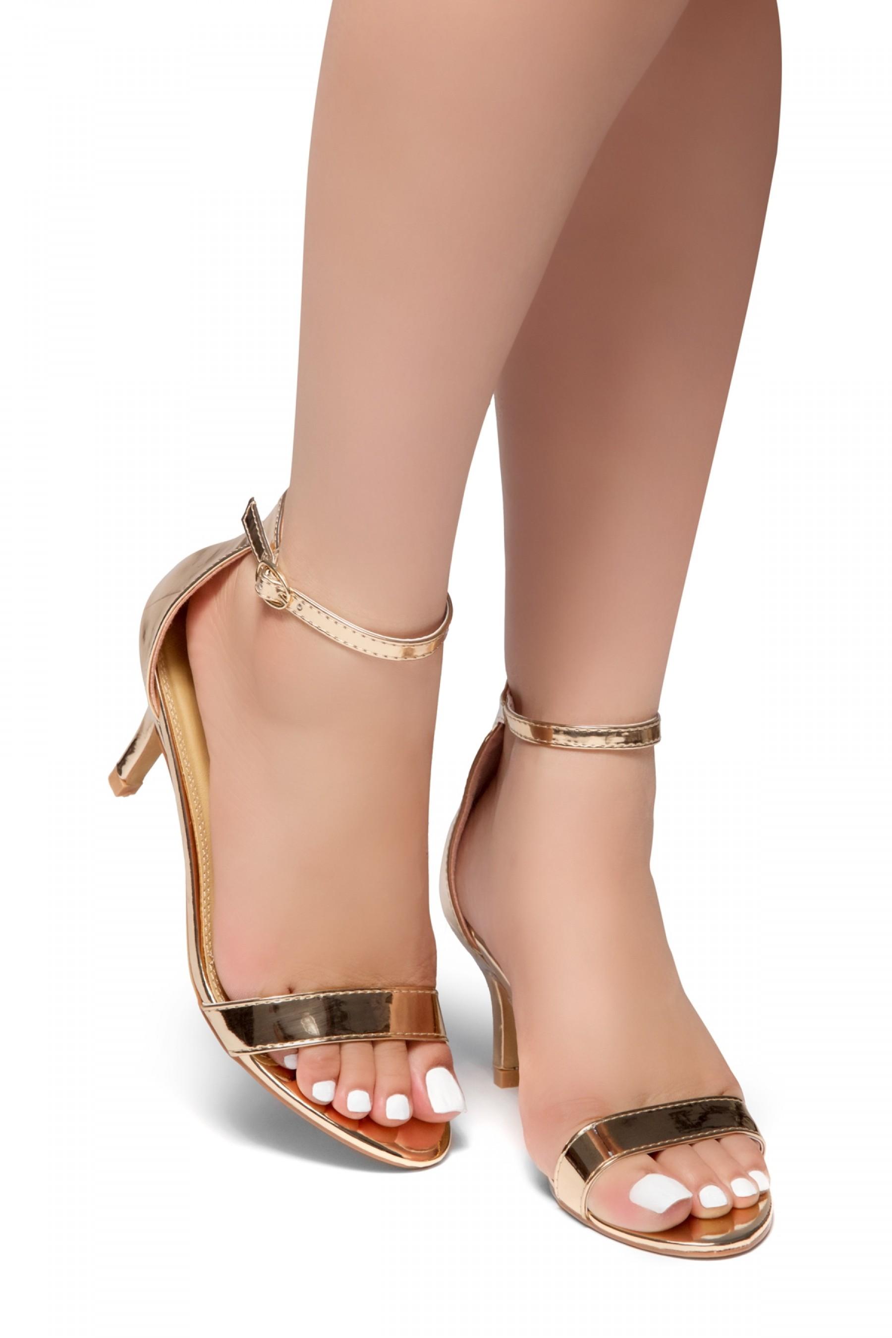 HerStyle Pure Love-Stiletto Heel, Ankle Strap Sandals (RoseGold)
