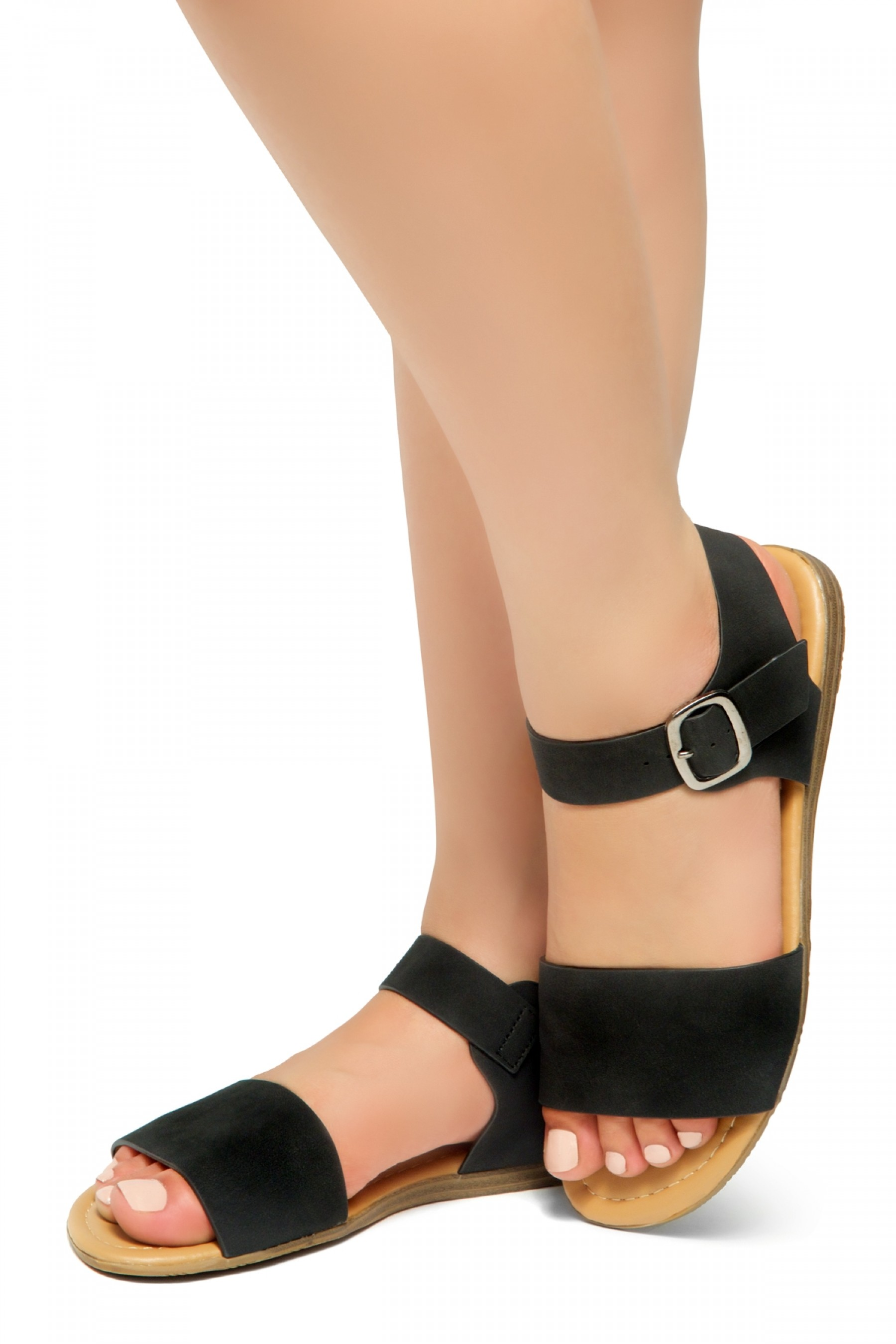 HerStyle Women's Redeem Wide Vamp Strap Wedge Sandals with Square Buckle (Black)
