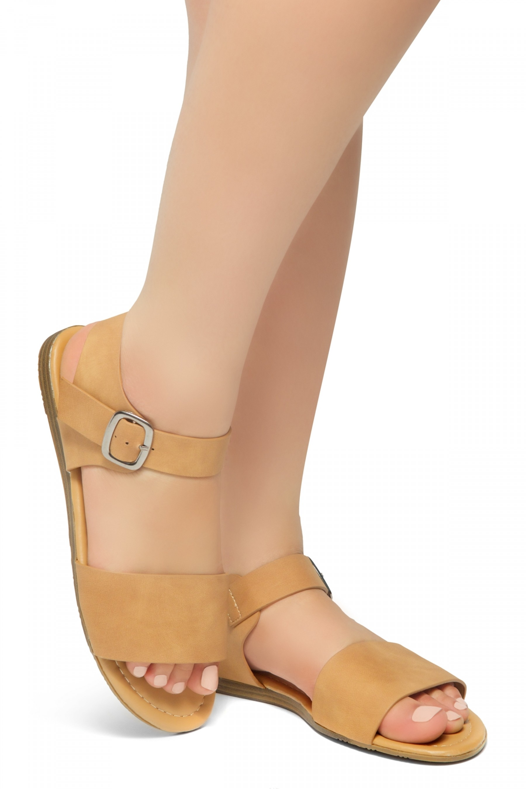 HerStyle Women's Redeem Wide Vamp Strap Wedge Sandals with Square Buckle (Camel)