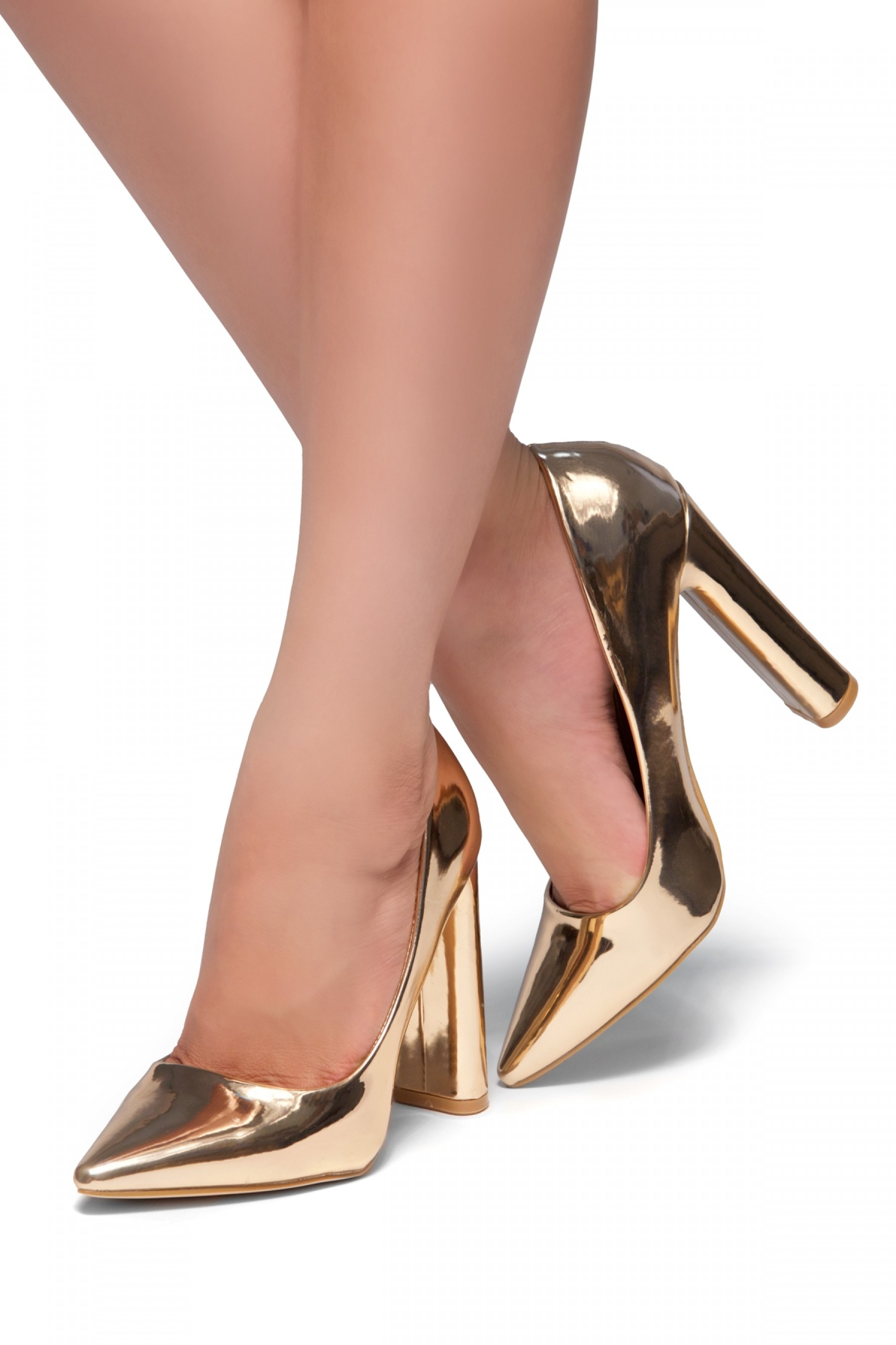 HerStyle Rilley- pointed toe, chunky heel (Rose Gold)