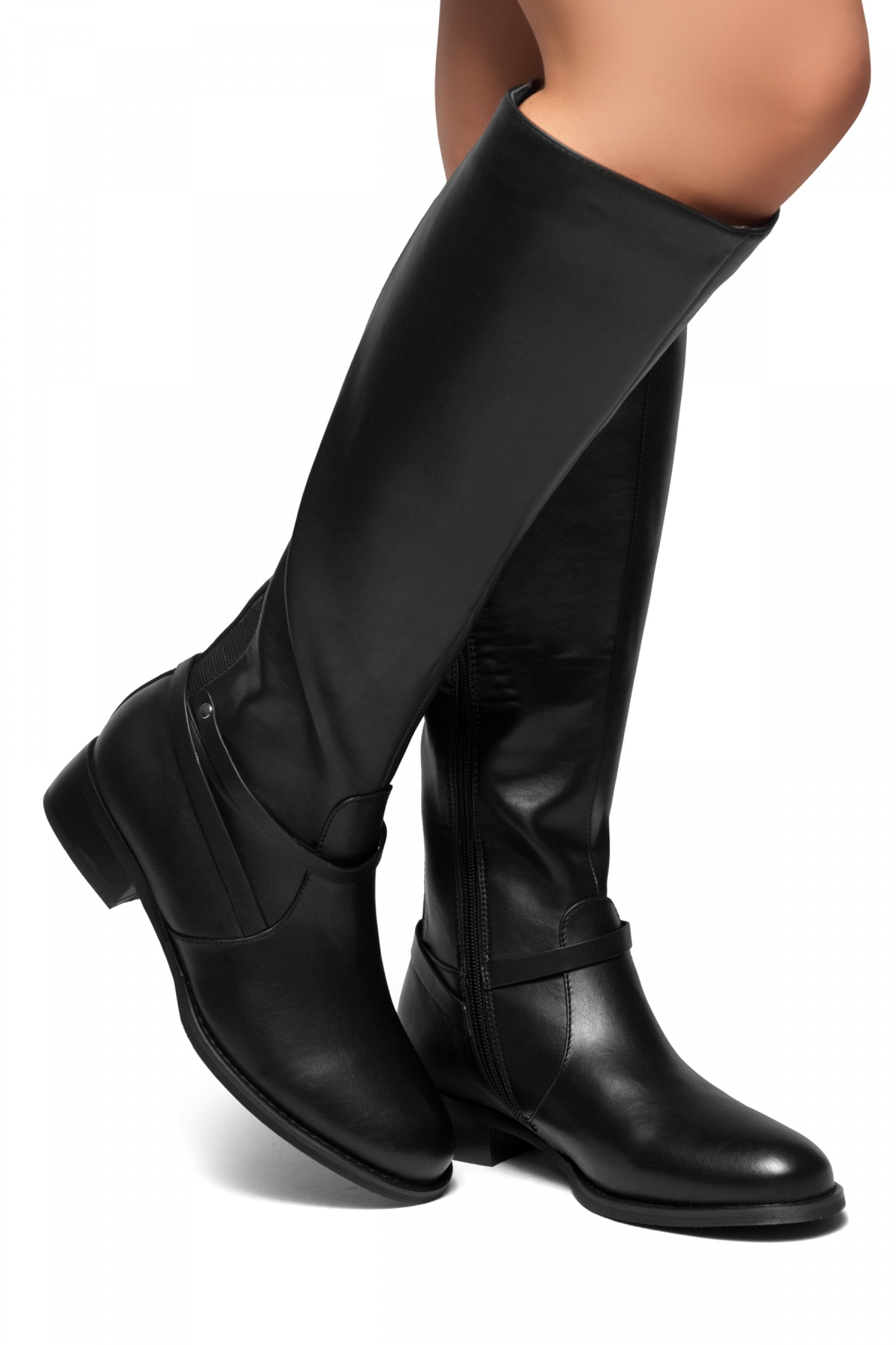 HerStyle RISKY OUTLAW-Elastane Back Panel Riding Boots (Black)