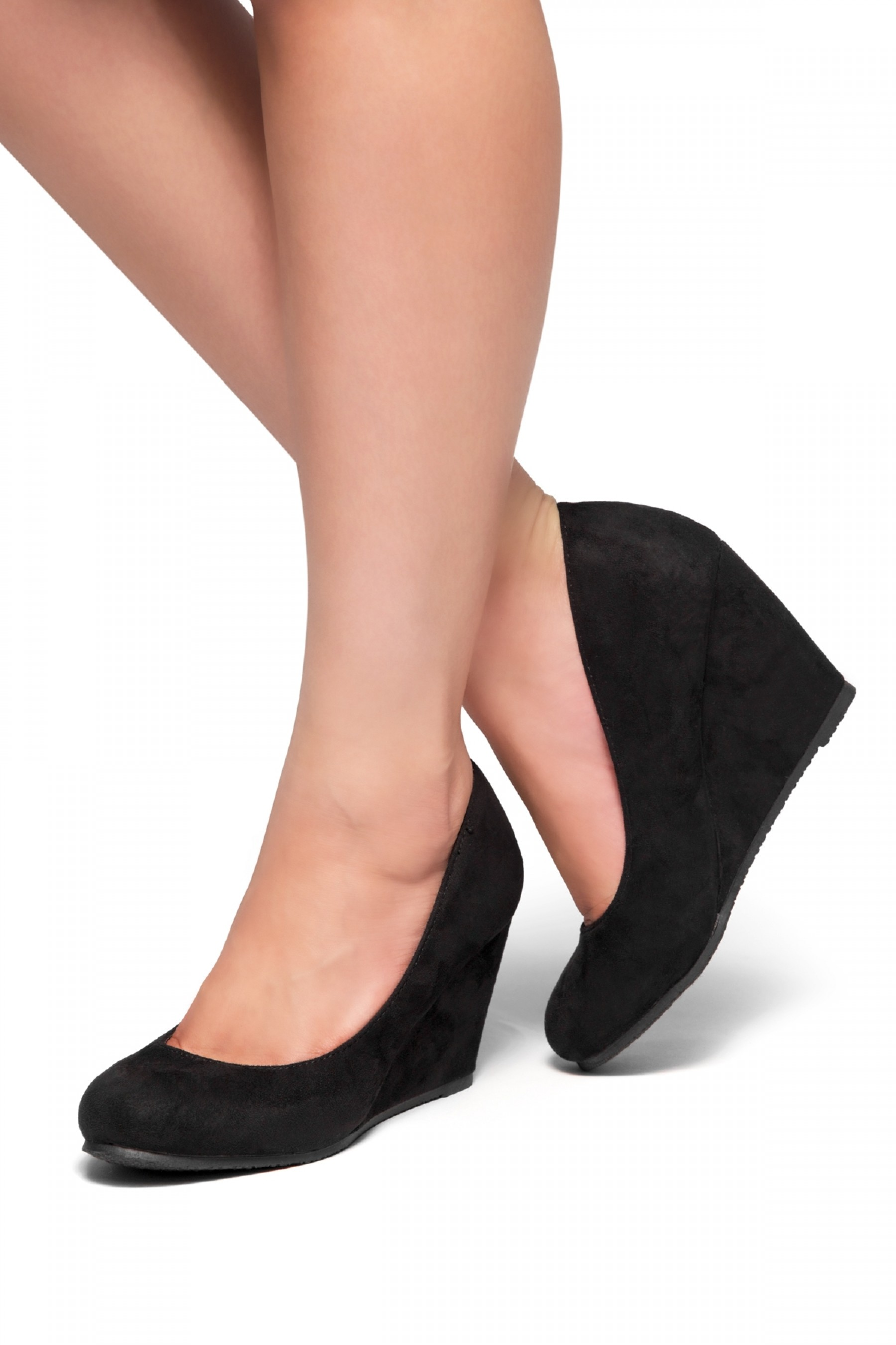 Romy-Wedge heel, Round toe (Black)