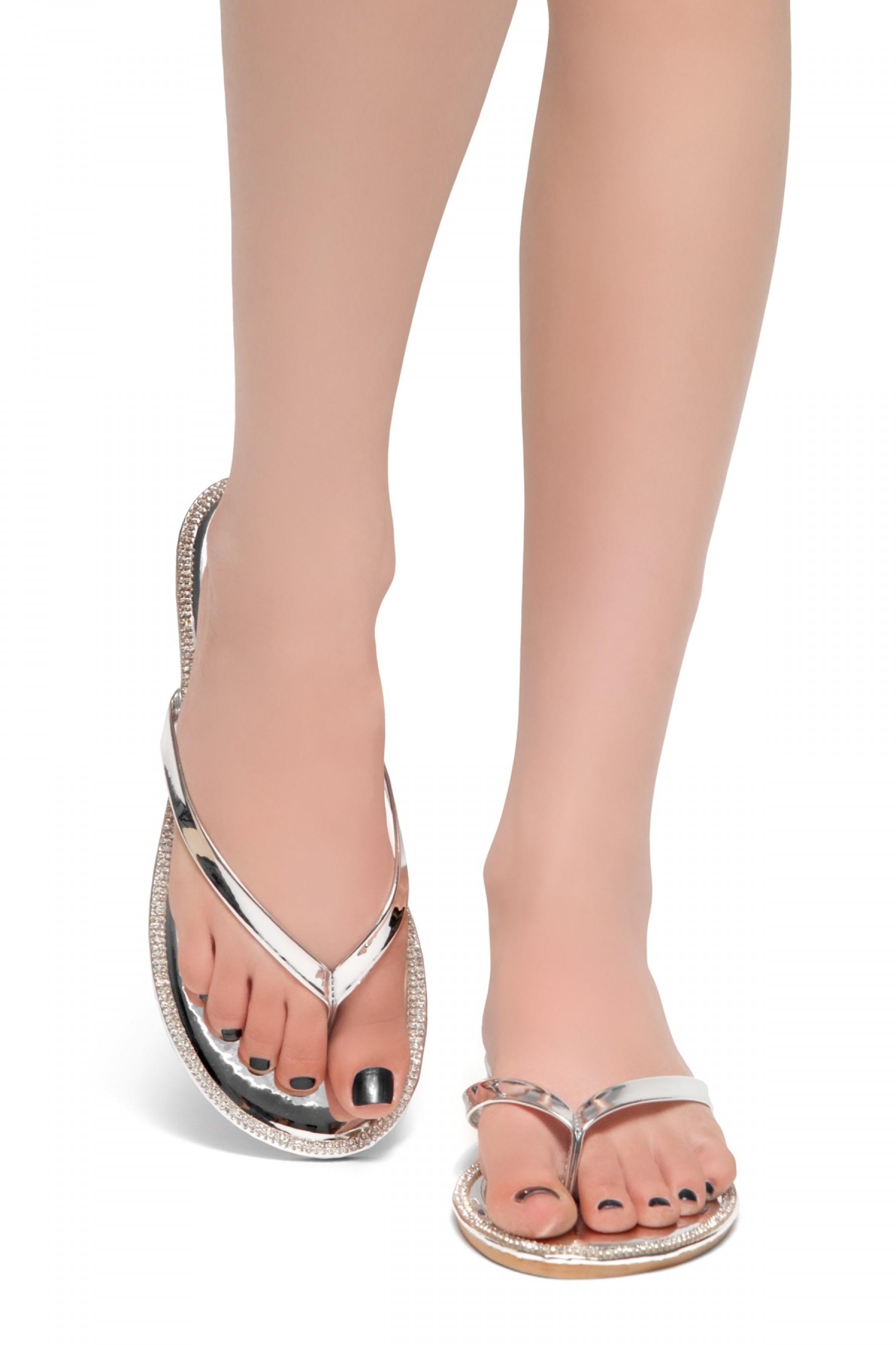 HerStyle Rosalyn-Rhinestone Details Open Toe Thong Slide Sandal (Silver)