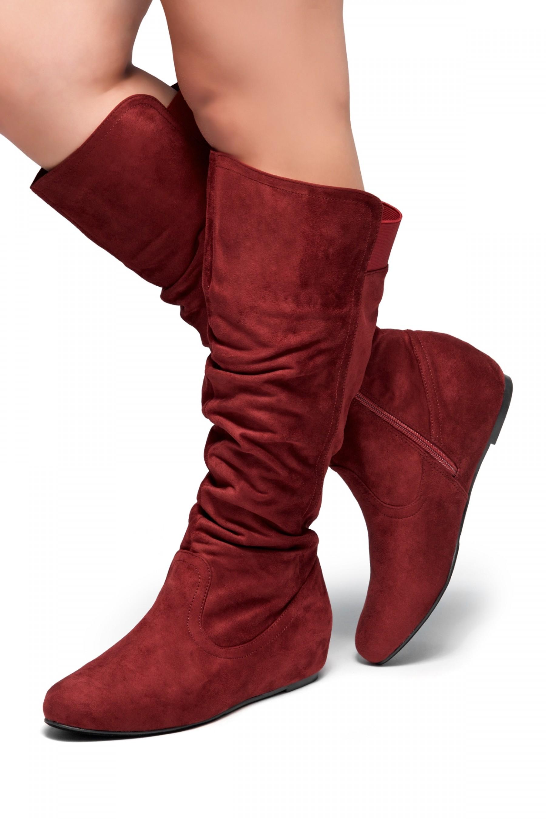 HerStyle Women's Wide Calf Faux Suede  Slouchy Hidden Wedge Boot ROSEMARRY (Burgundy)
