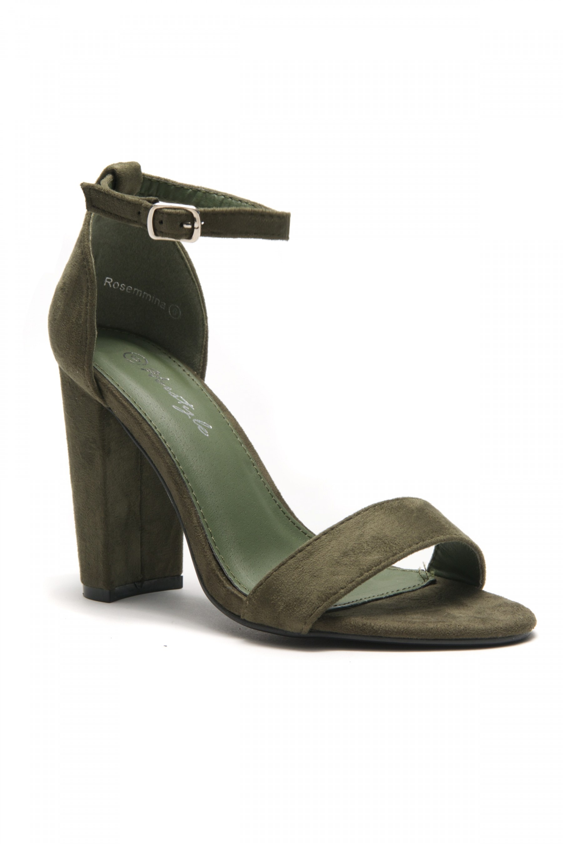 HerStyle Rosemmina Open Toe Ankle Strap Chunky Heel (Olive)