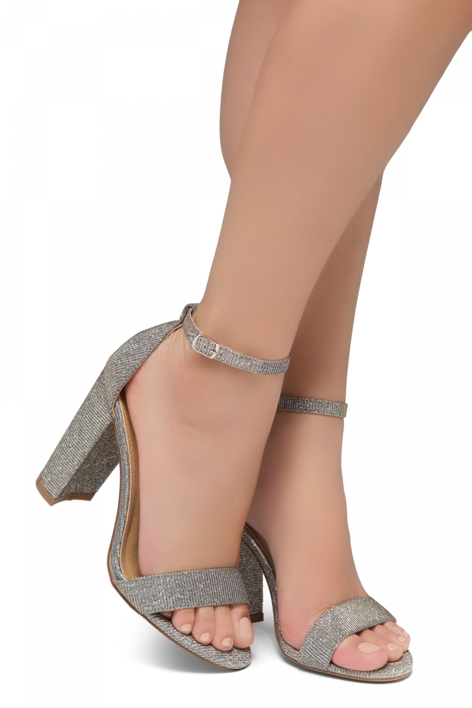 HerStyle Rosemmina Open Toe Ankle Strap Chunky Heel (Pewter)