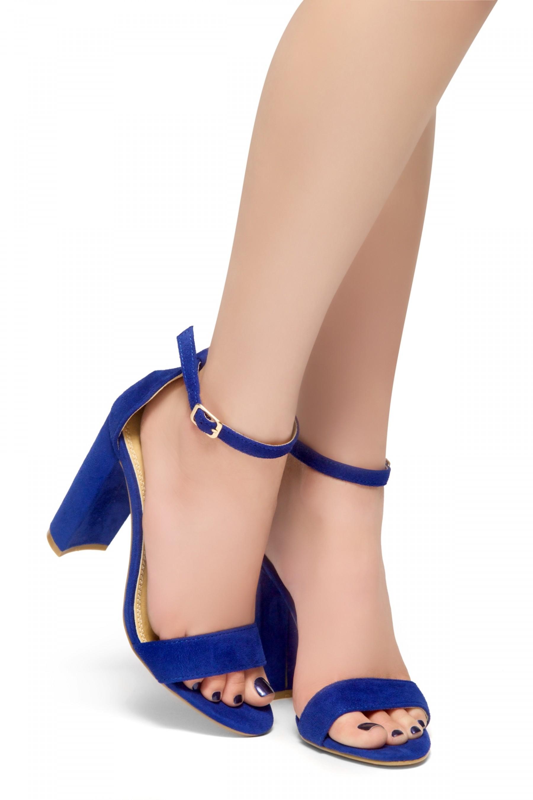 HerStyle Rosemmina Open Toe Ankle Strap Chunky Heel (Royal Blue)