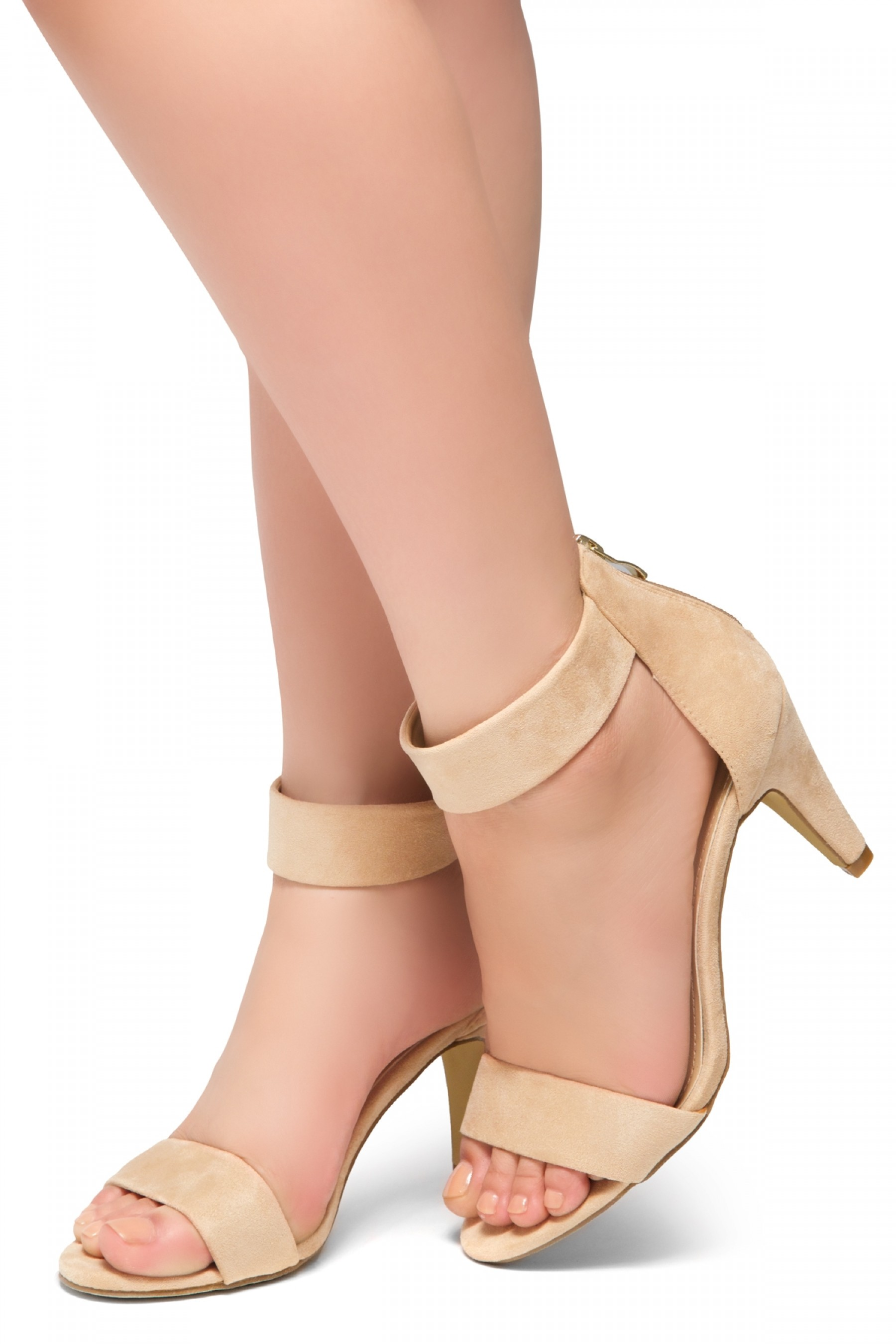 HerStyle RRose-Stiletto heel, back zipper closure (Beige)