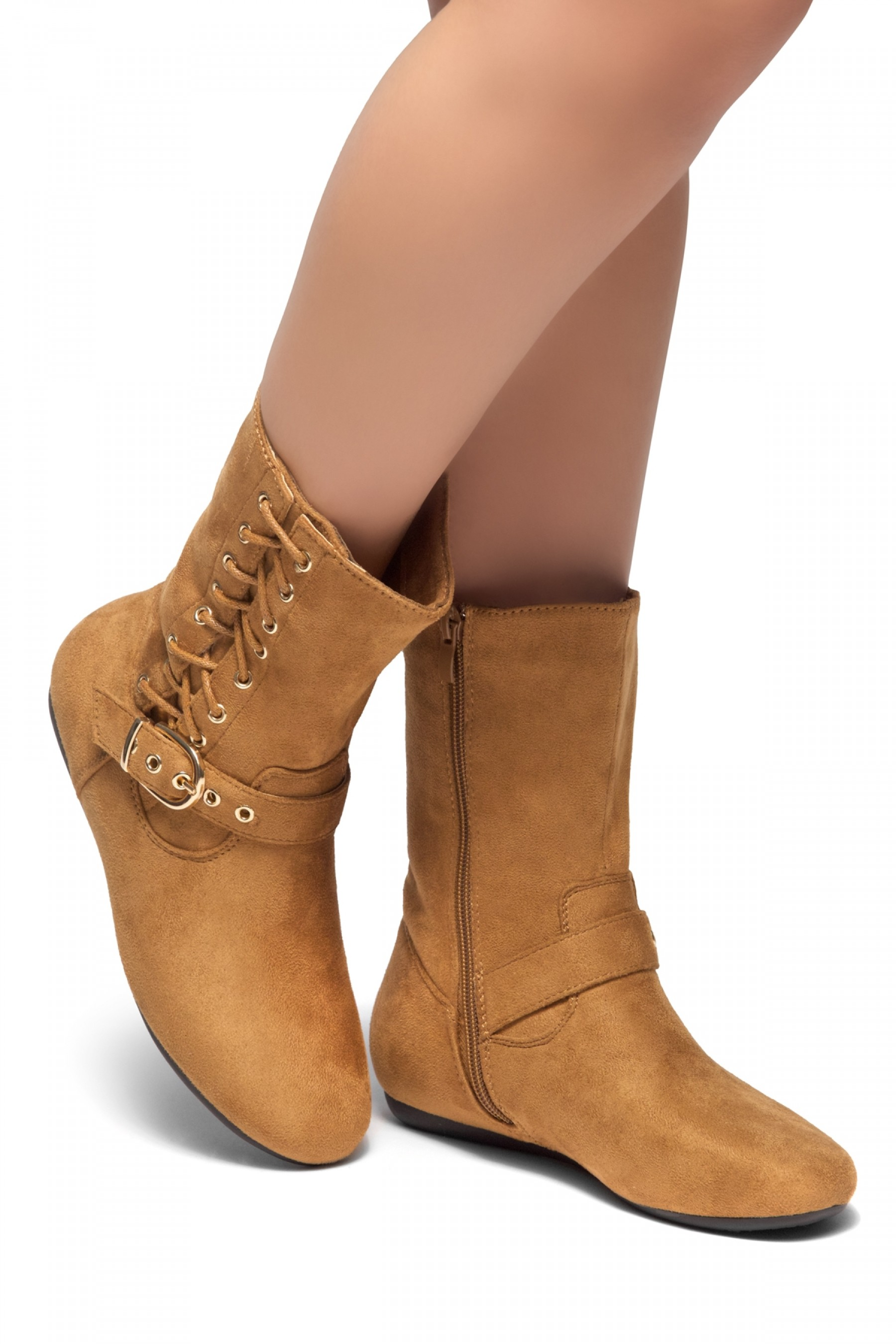 HerStyle RULE BREAKING-Round toe, stacked heel, buckle and shoe lace detail detail (Cognac)