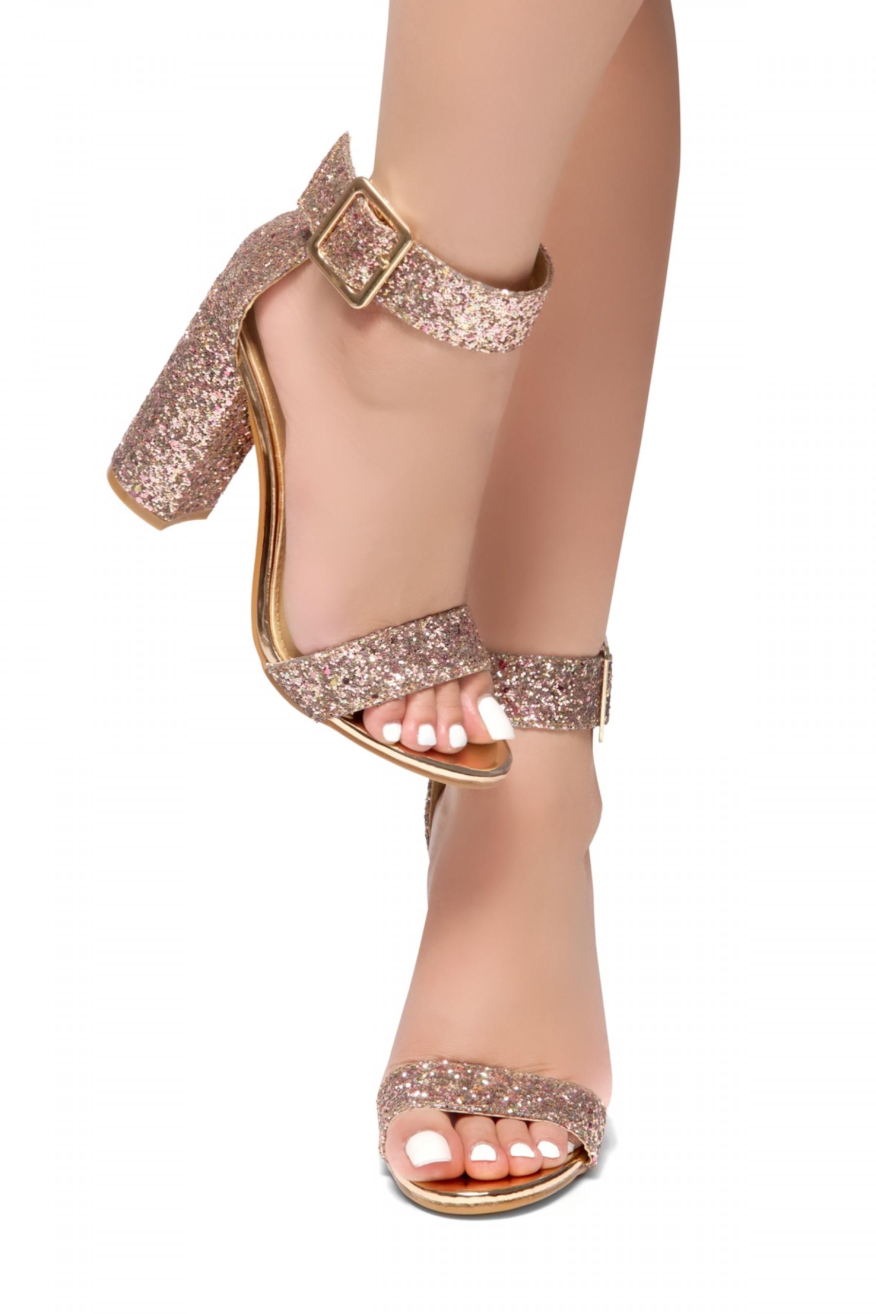 Rumors-Glitter, Chunky heel, ankle strap (Gold Glitter)