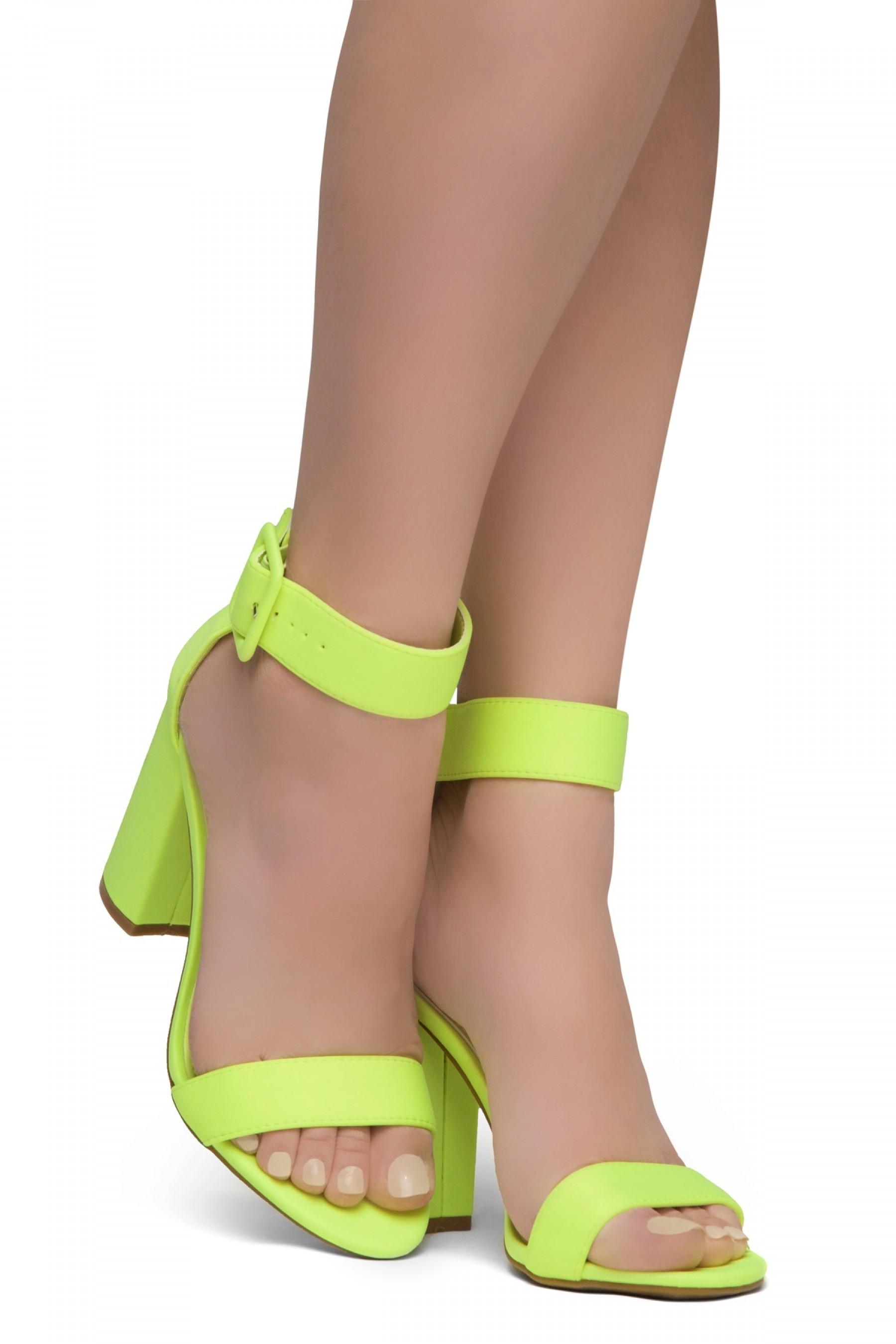 HerStyle Rumors-Chunky heel, ankle strap (LimeNeon)