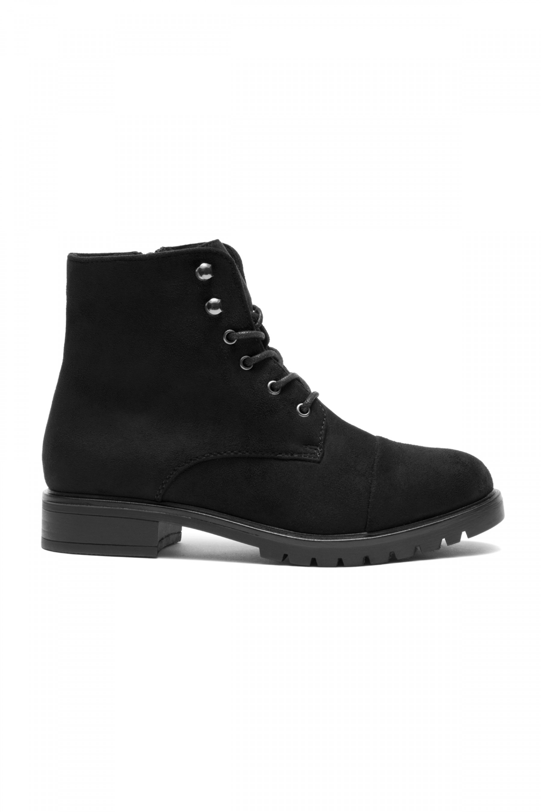 Women's Black Sayddy Combat Riding Lug Ankle Boots.