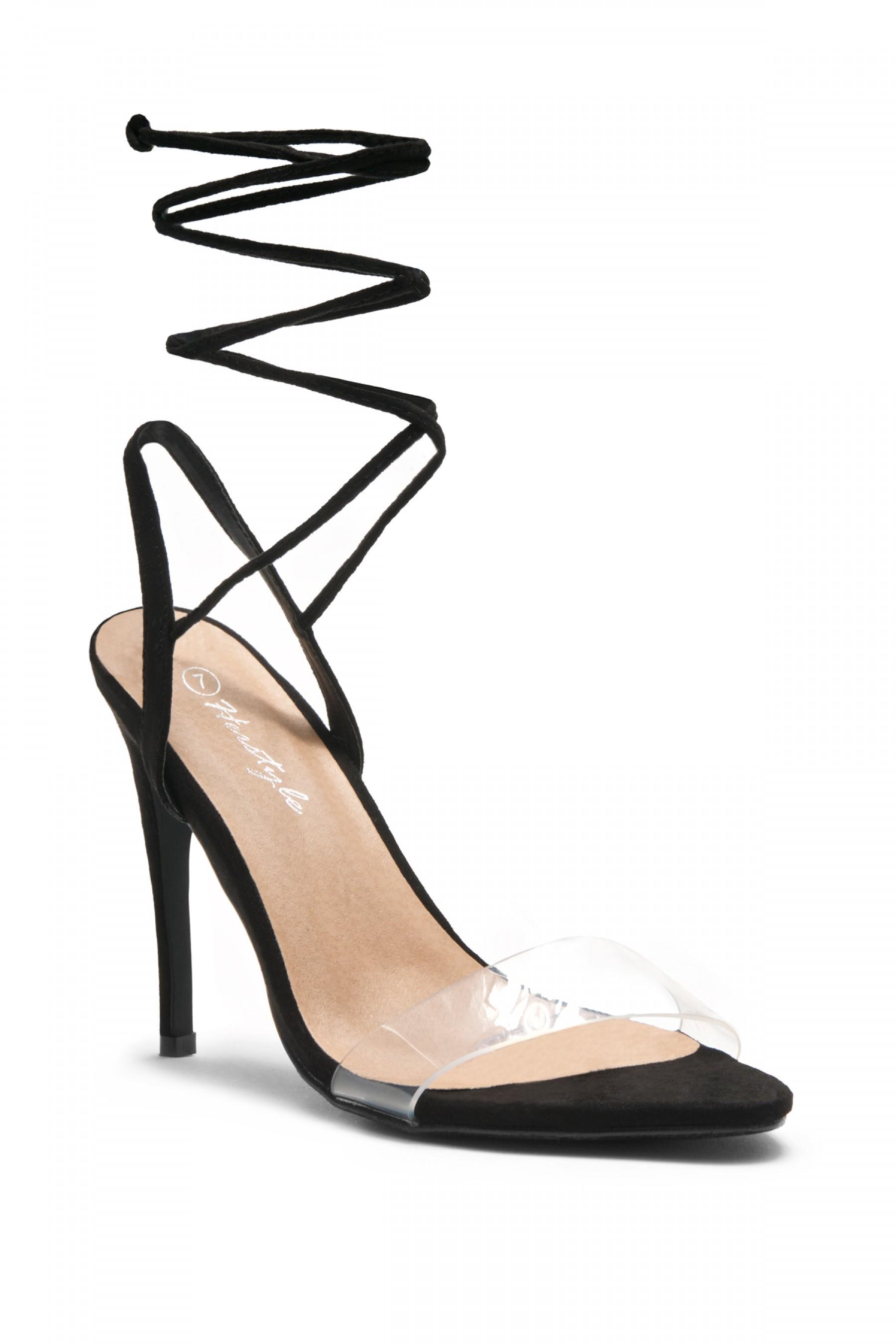 HerStyle Women's Manmade Senerra Suede Lucite Ankle-Tie Open Toe Stiletto Heel - Black
