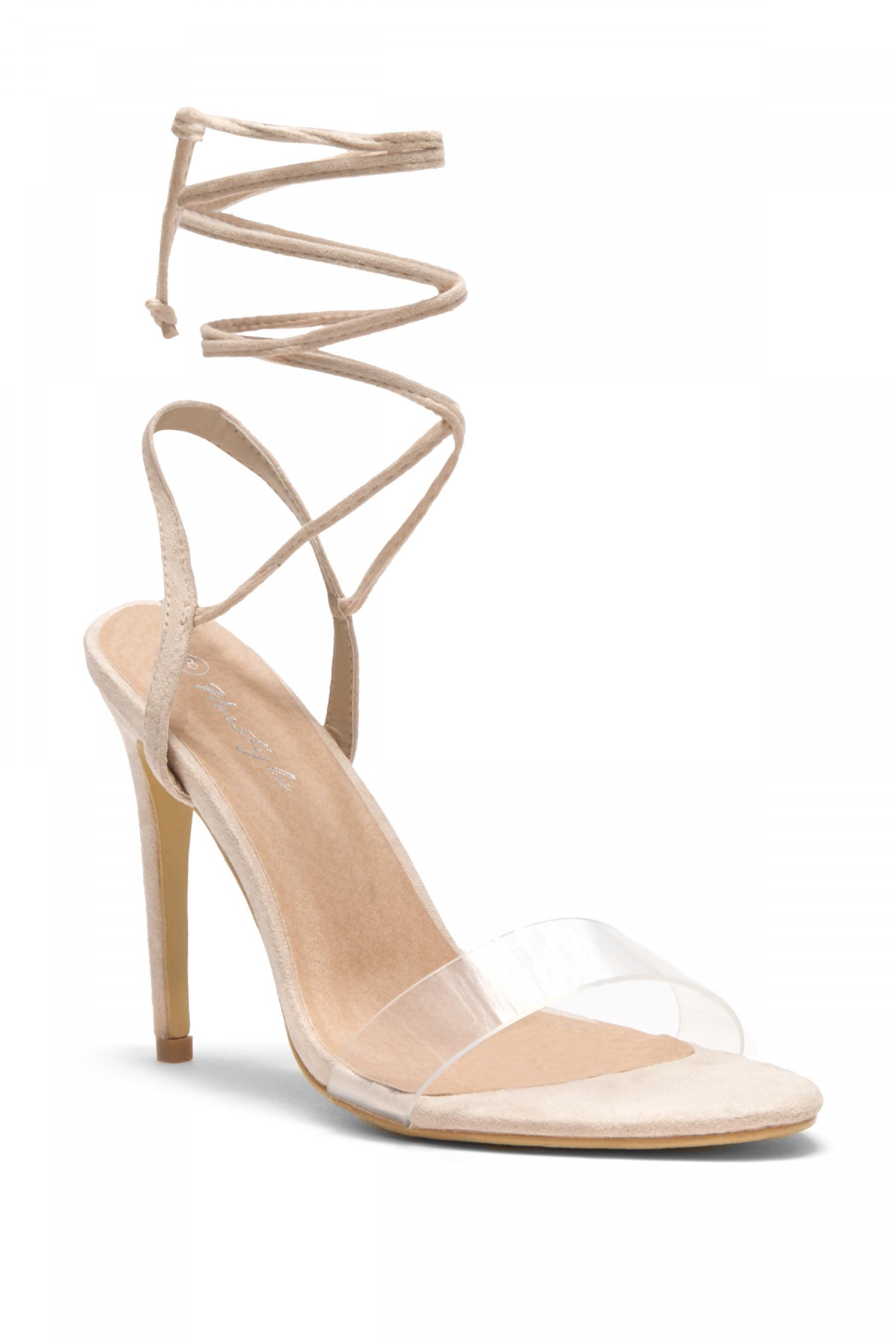 HerStyle Women's Manmade Senerra Suede Lucite Ankle-Tie Open Toe Stiletto Heel - Nude