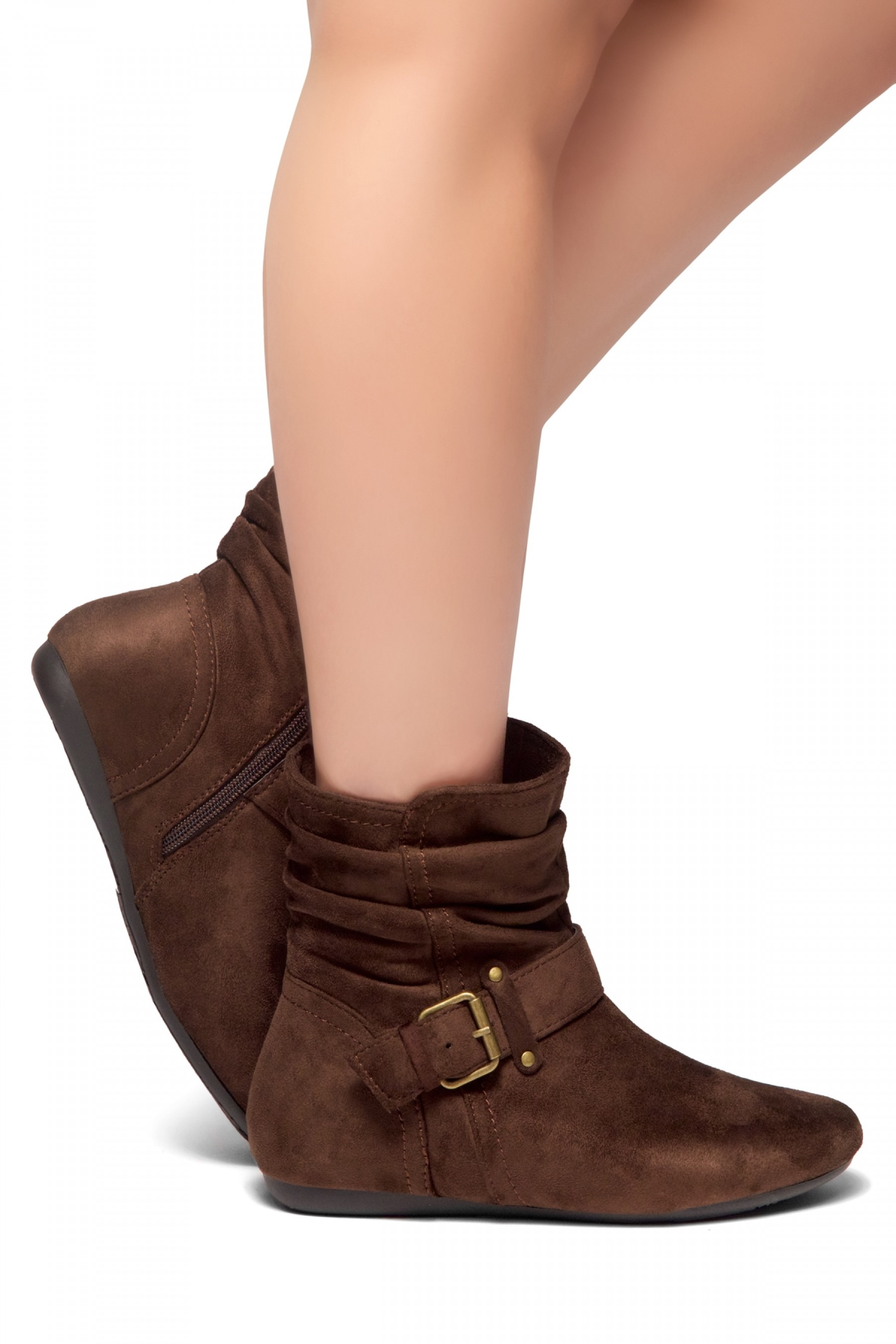 Women's Brown Shearlly Faux Suede Buckled up booties-- [Runs Small, Order One Size Bigger]