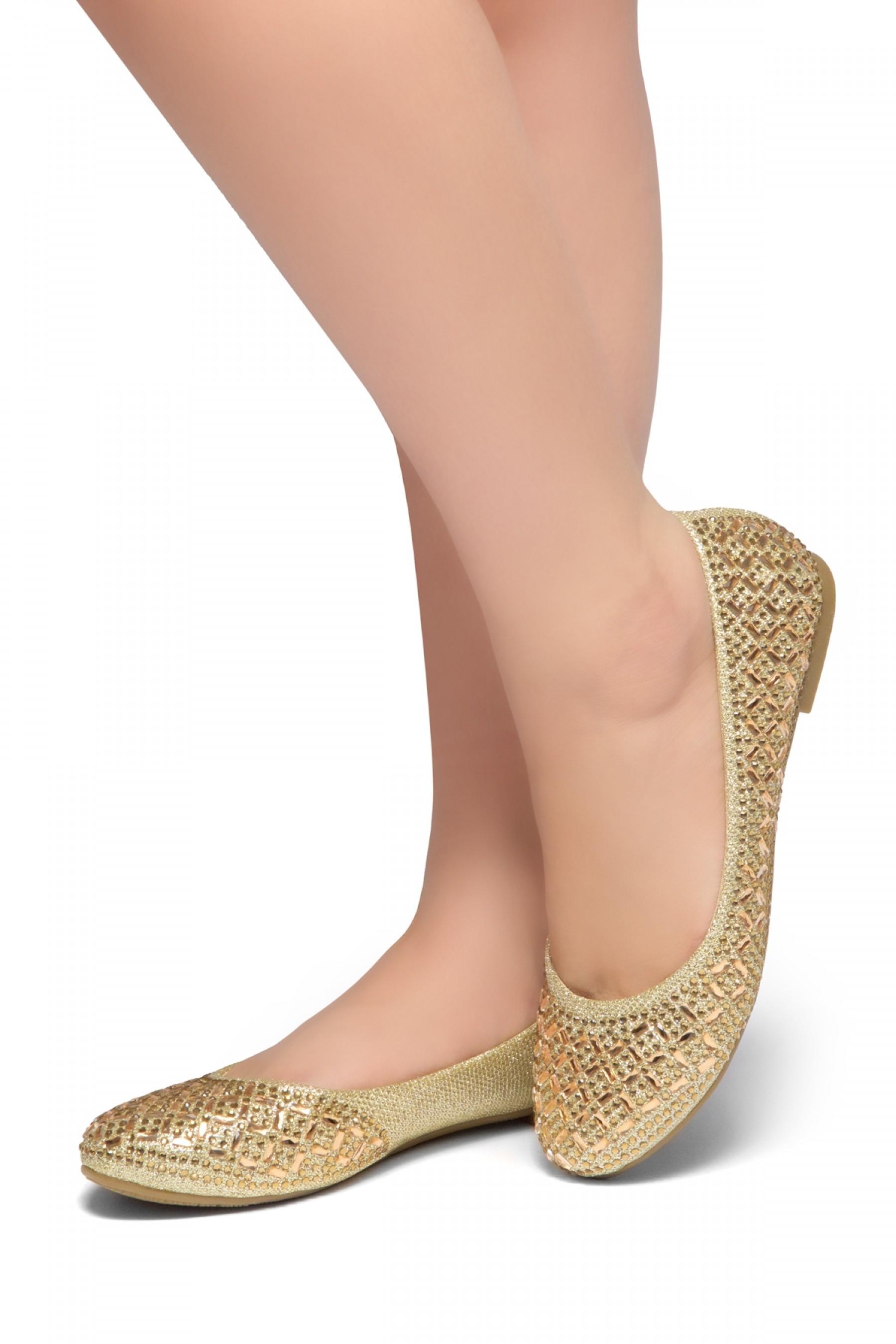 HerStyle Shine Bright-Round toe, jeweled embellishments (Gold)