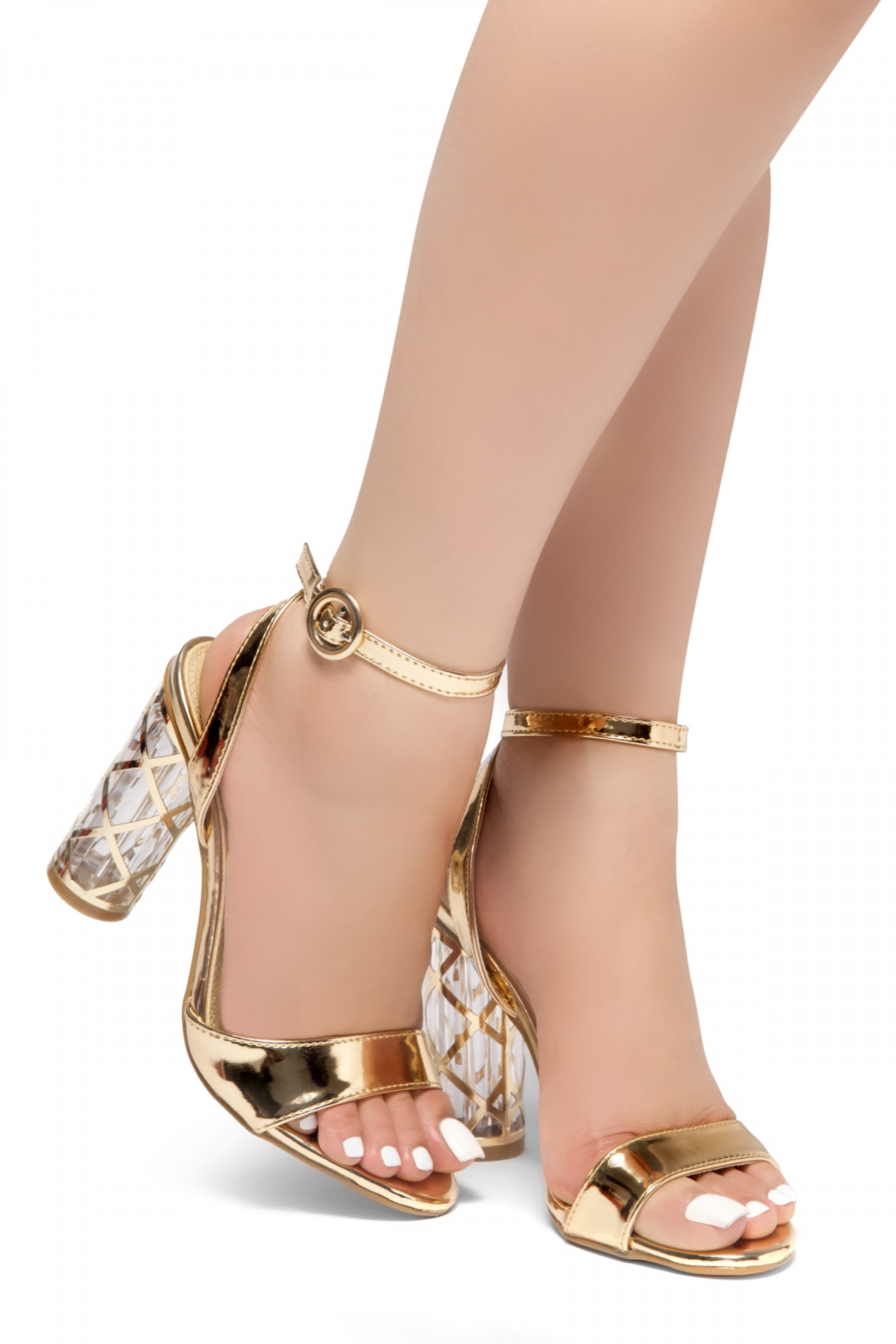 HerStyle Shine Factor-Perspex cylinder heel, Open Toe, Ankle Strap Sandals (RoseGold)