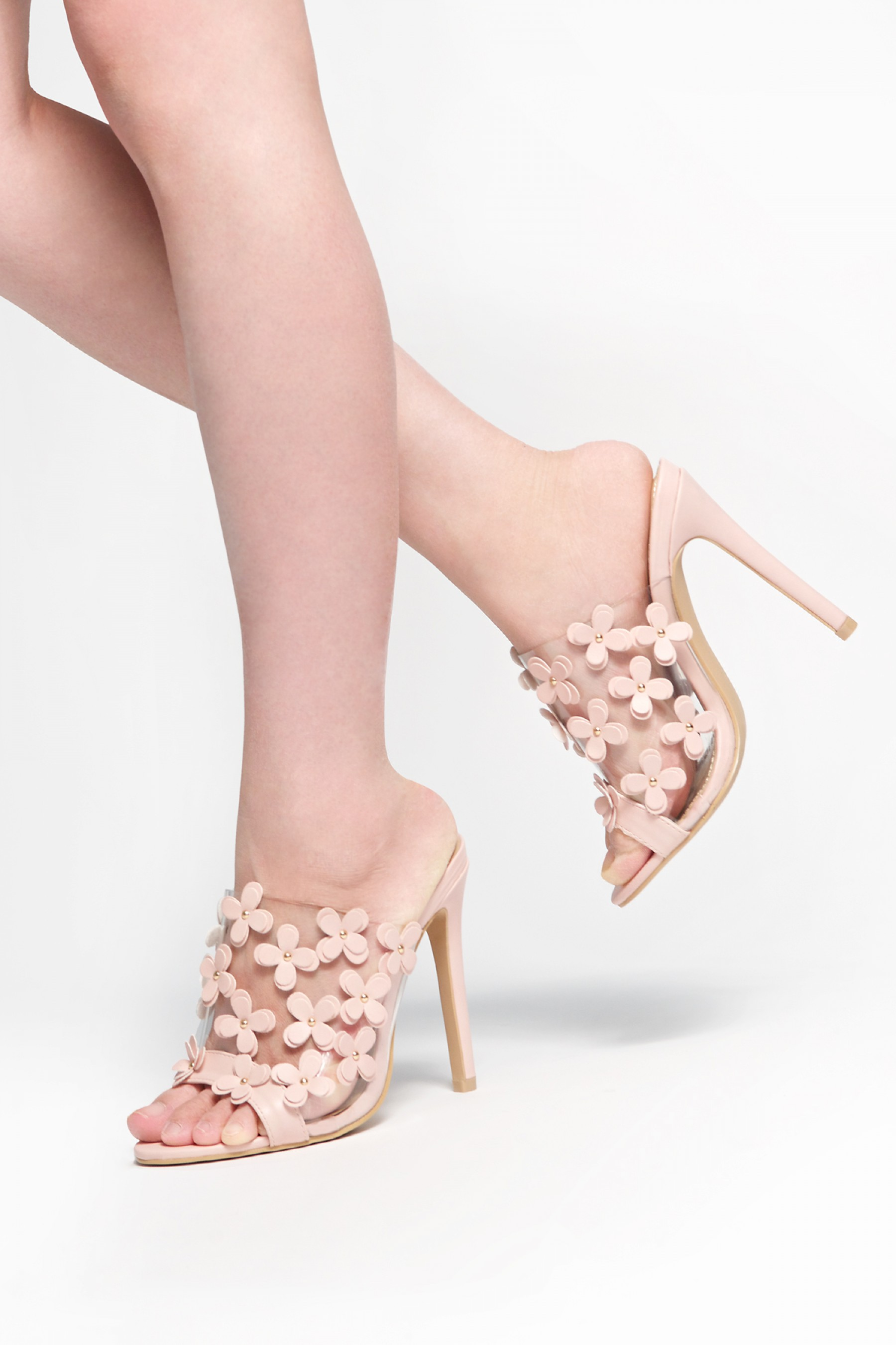 HerStyle Shireen stiletto heel, Perspex with Blossom details (Clear Mauve)