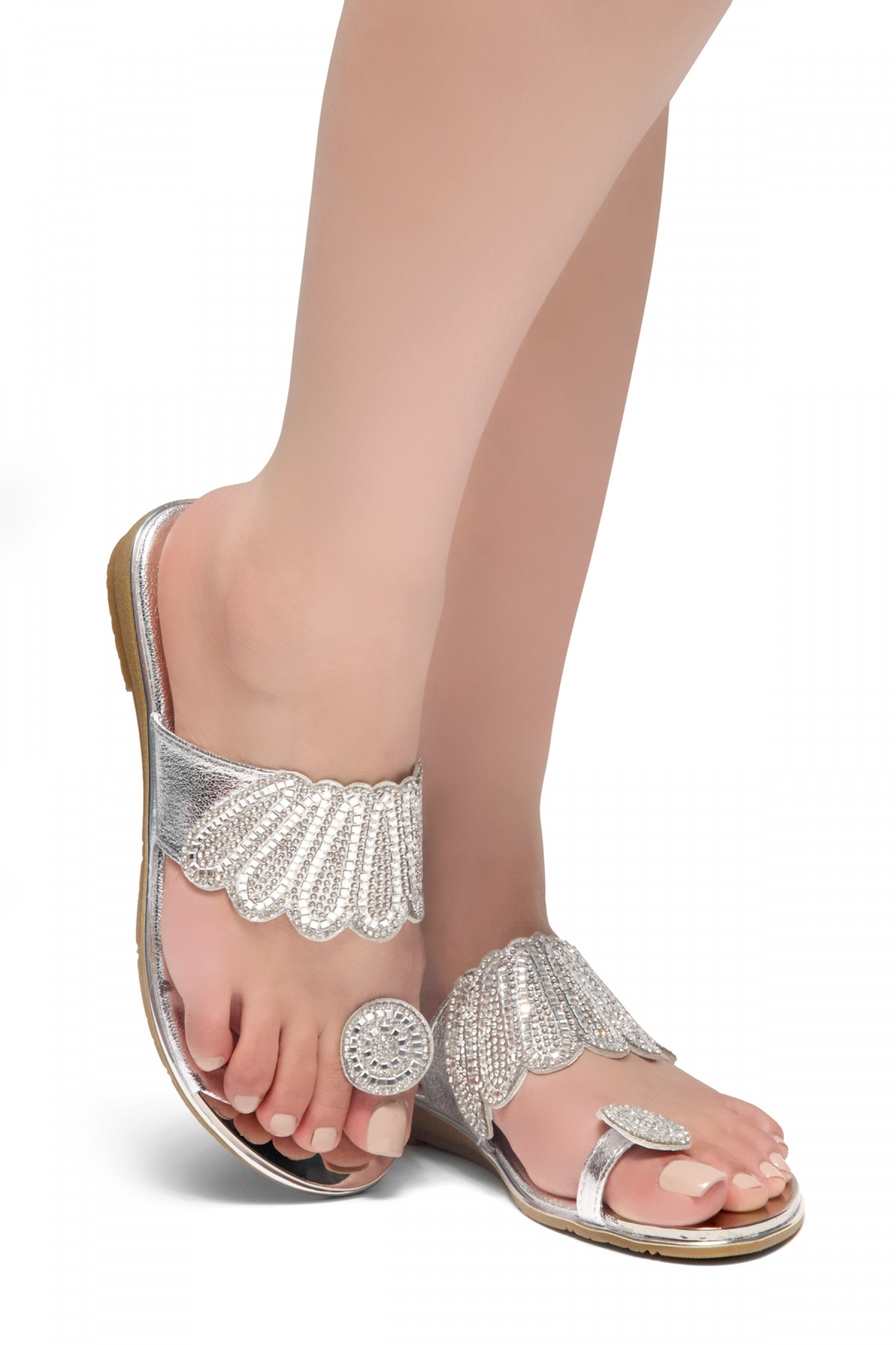 HerStyle SHOWSTOPPER- Toe Ring with blink blink jeweled embellishment vamp, open toe sandals (Silver)