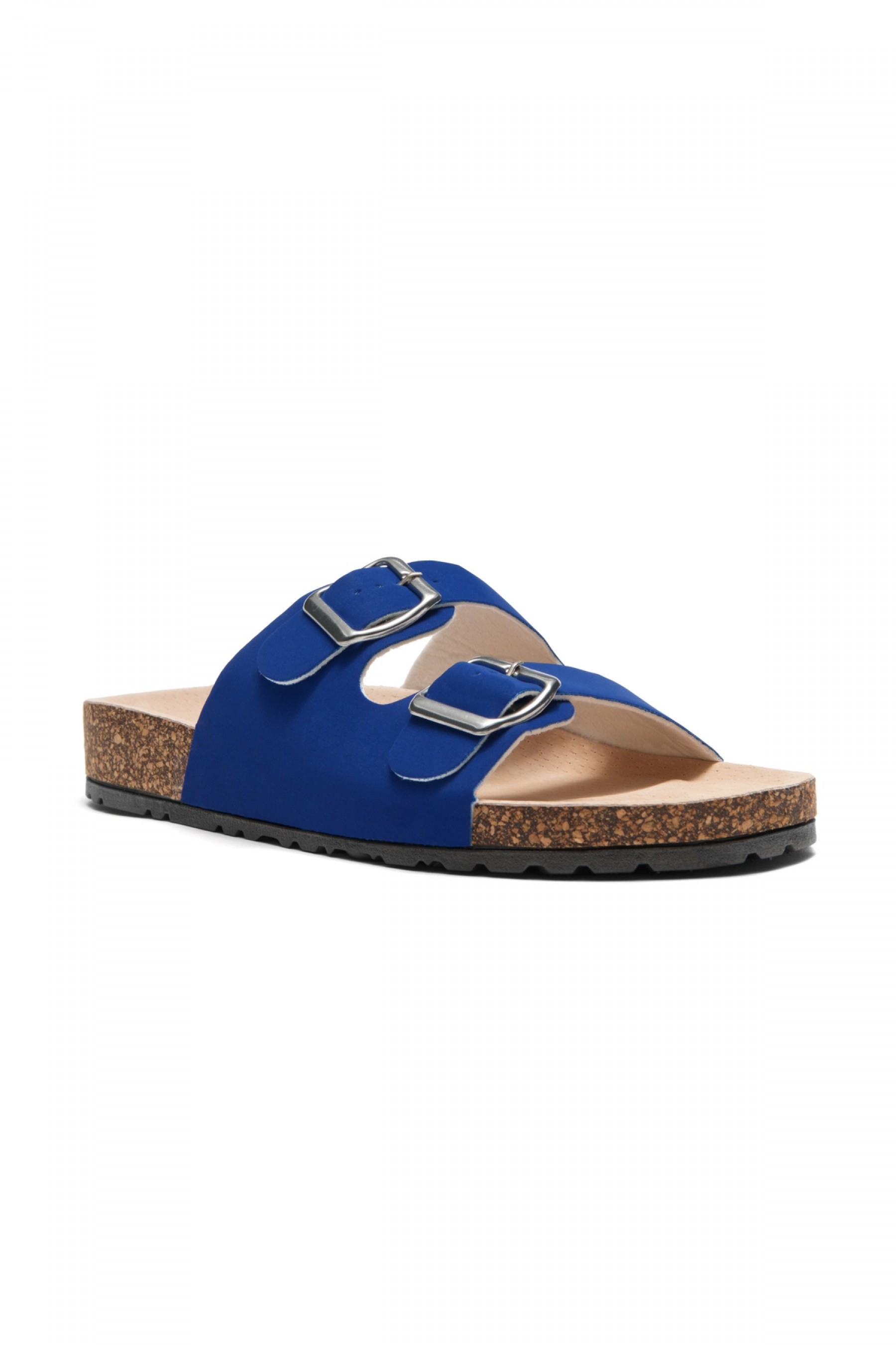 HerStyle SL-110115 Open Toe Buckled Cork Slide Sandal (RoyalBlue)