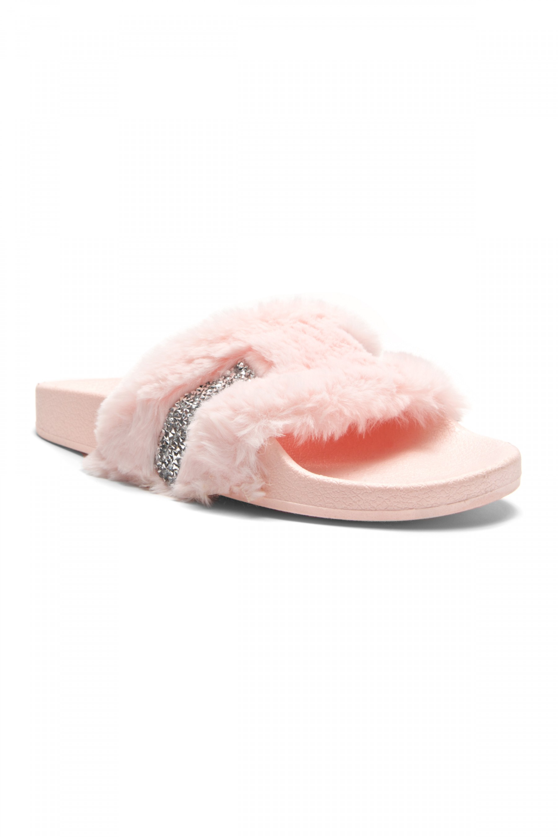 2a8ecb1fc HerStyle SL-16110101 Faux Fur Slide Sandal with Rhinestone Accent ...