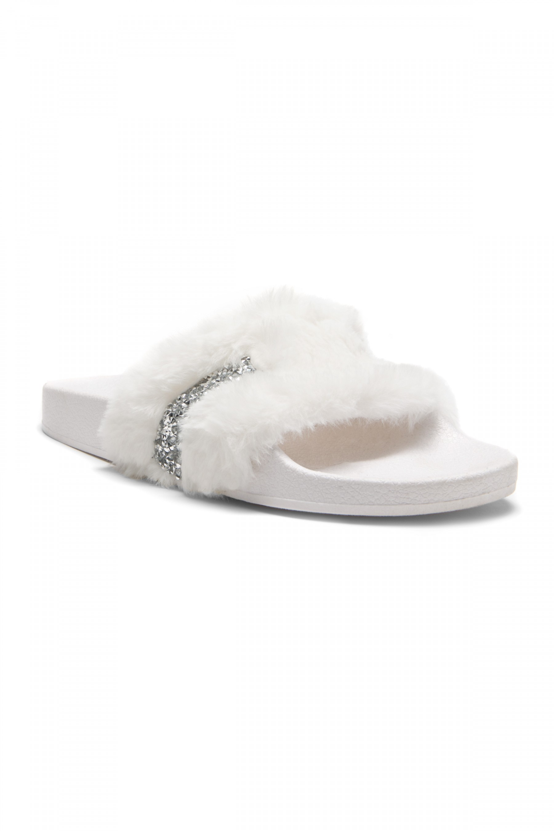 973891091e63 HerStyle SL-16110101 Faux Fur Slide Sandal with Rhinestone Accent ...