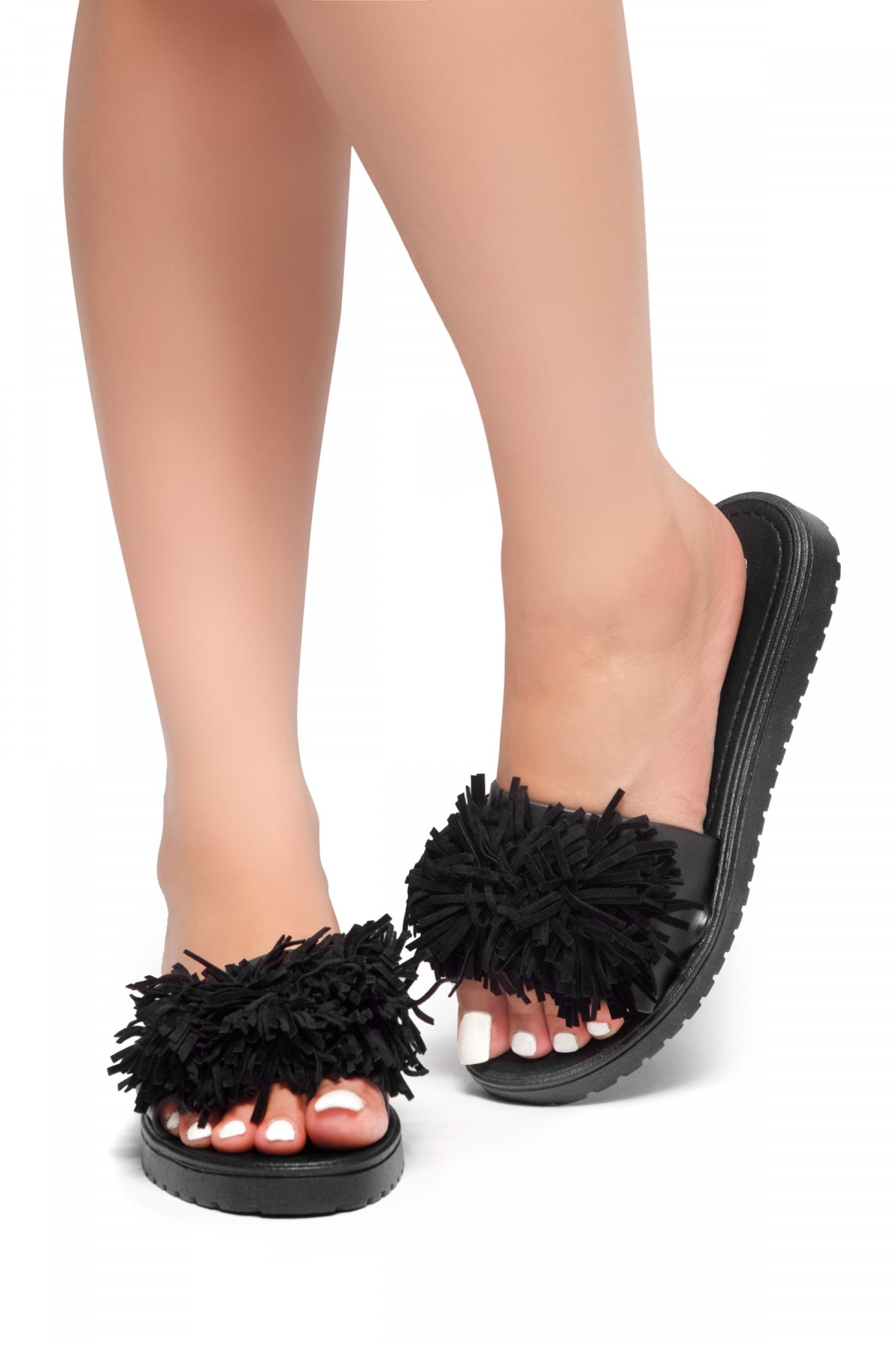 HerStyle SL-16110104-Fringe Sandals (Black)