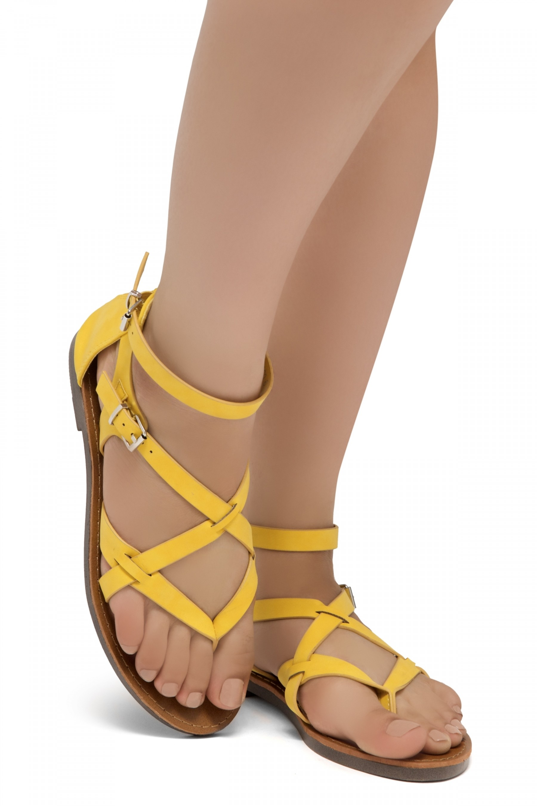 ShoeLand SL-Monaco Women's Open Toes Gladiator Flat Sandals Ankle Strap Thong Shoes(Yellow)