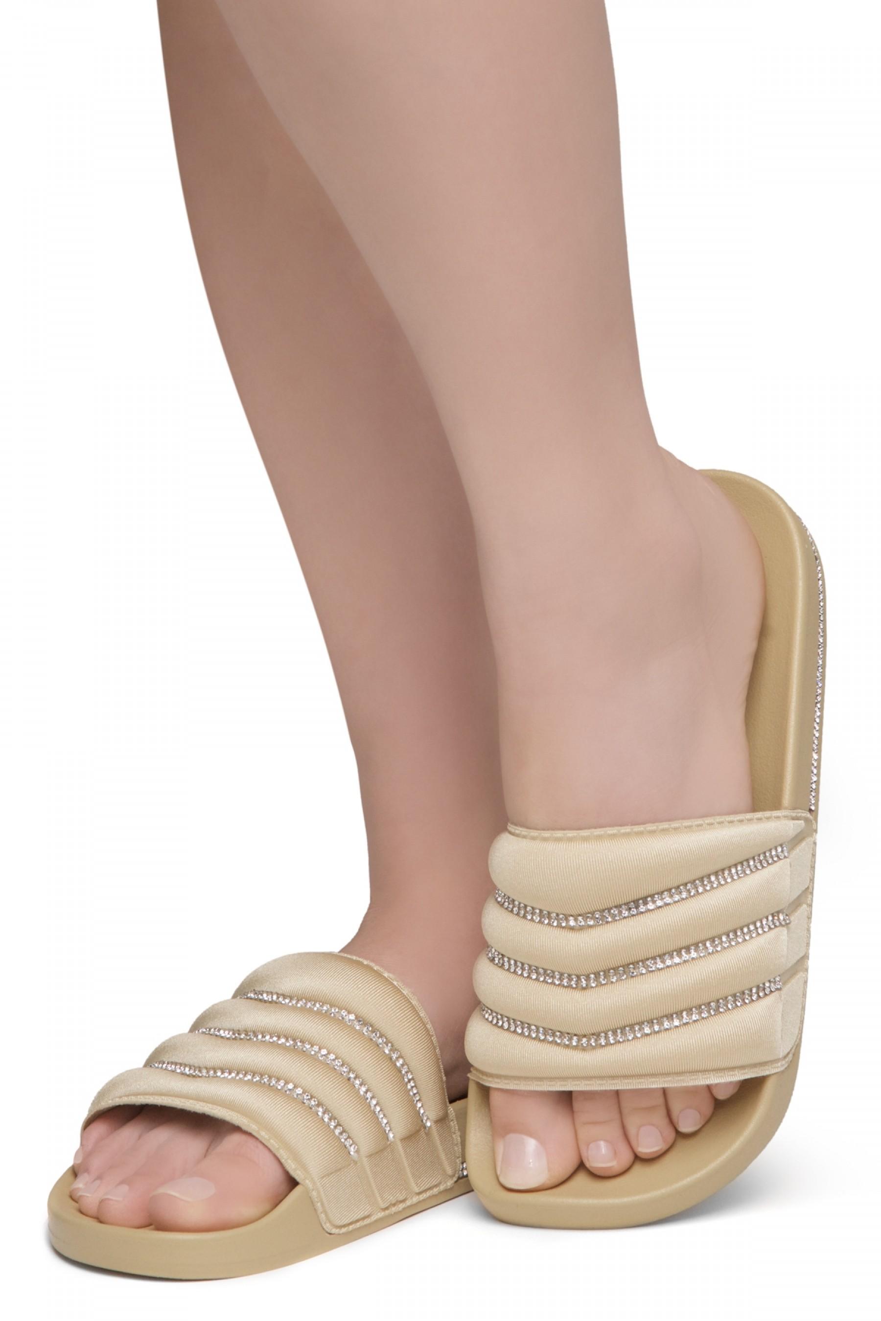 Shoe Land SL-Best Wishes-Women's Fashion Rhinestone Slide Slip On Summer Sandals (1901NUDE/NUDE)