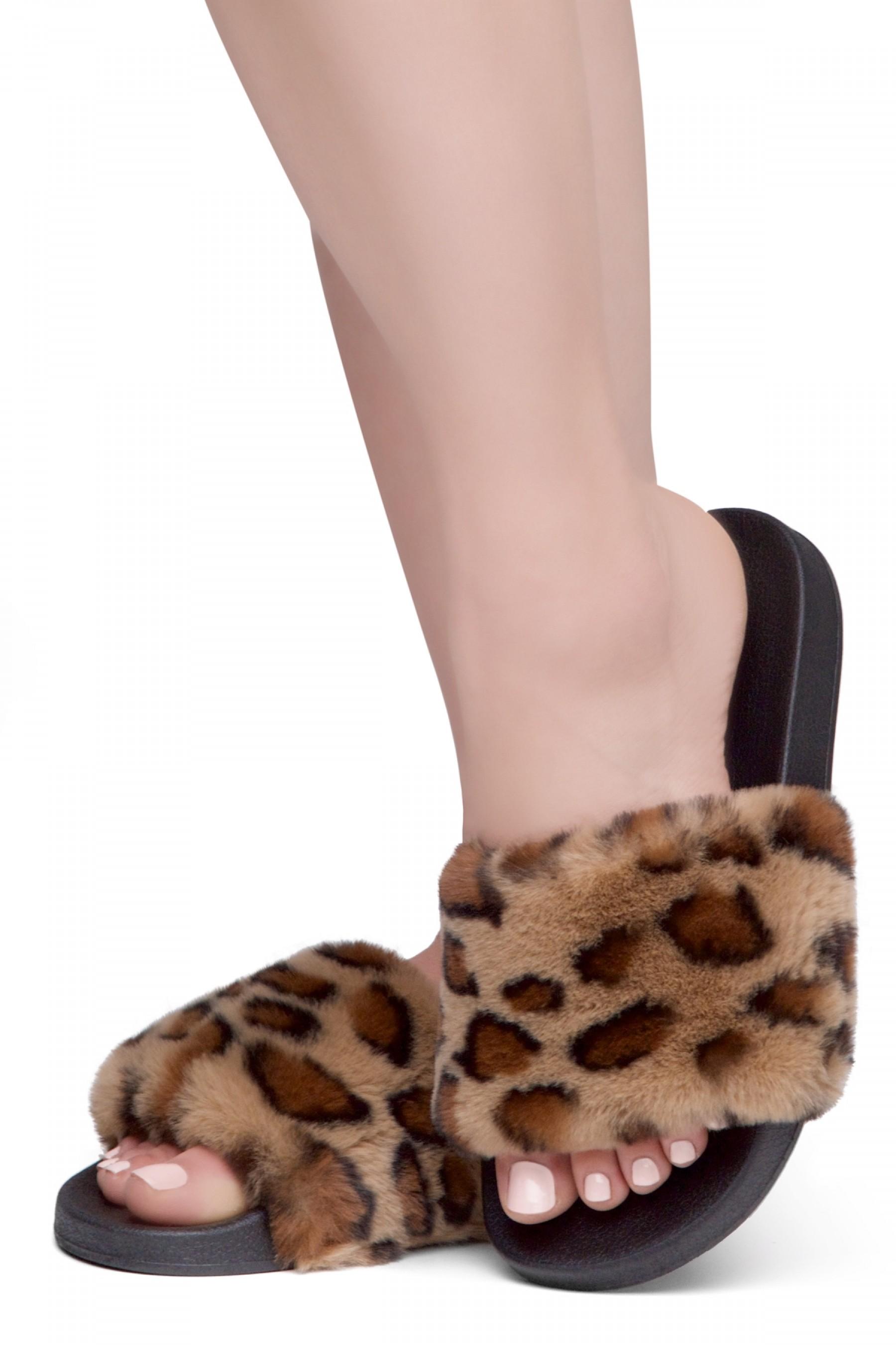 Shoe Land SL-Best Wishes-Women's Fashion Furry Slide Slip On Sandals (LEOPSPU/BLK)