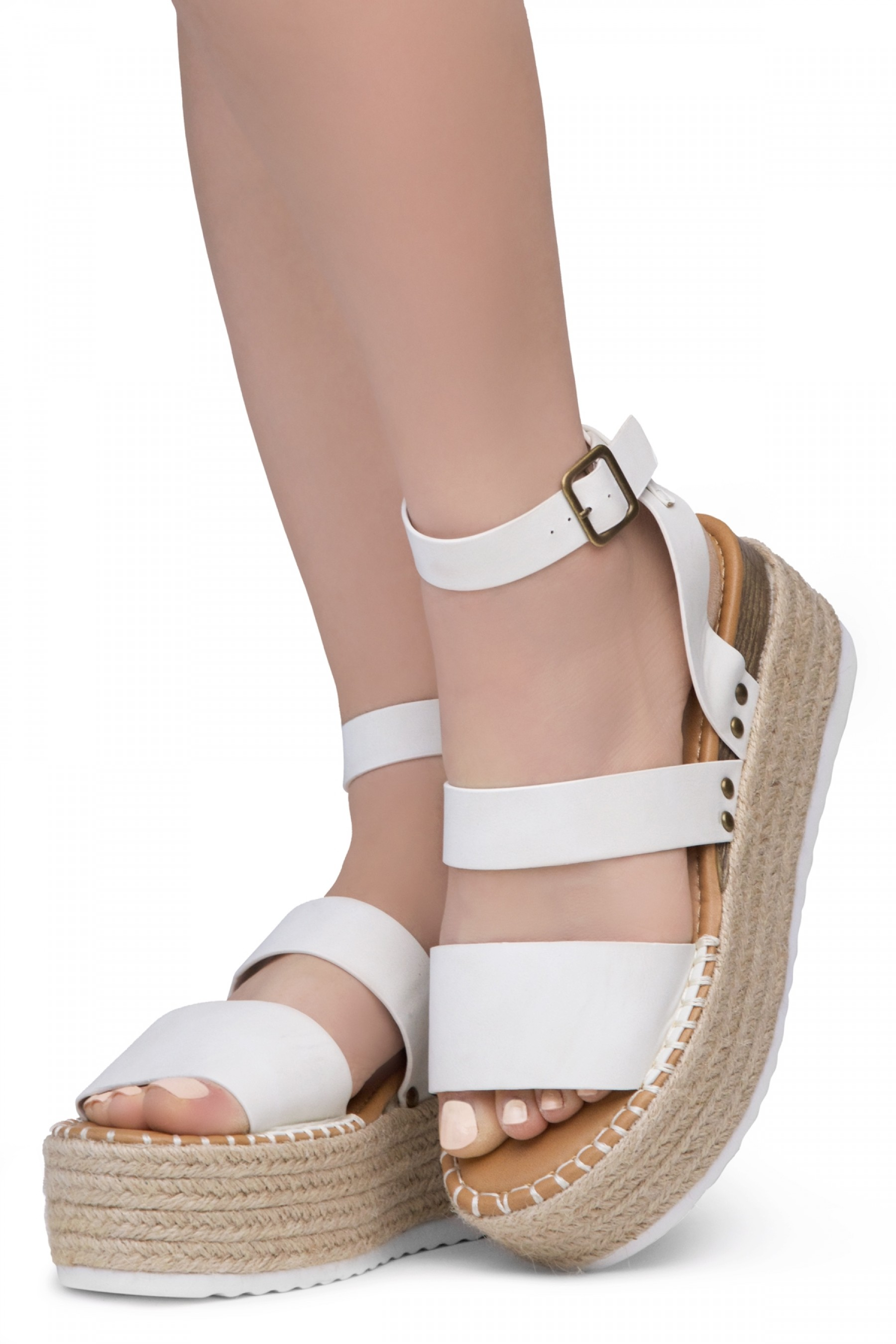 Shoe Land SL-Capri Womens Open Toe Ankle Strap Platform Sandals Causal Espadrille Wedge Shoes(OffWhite)