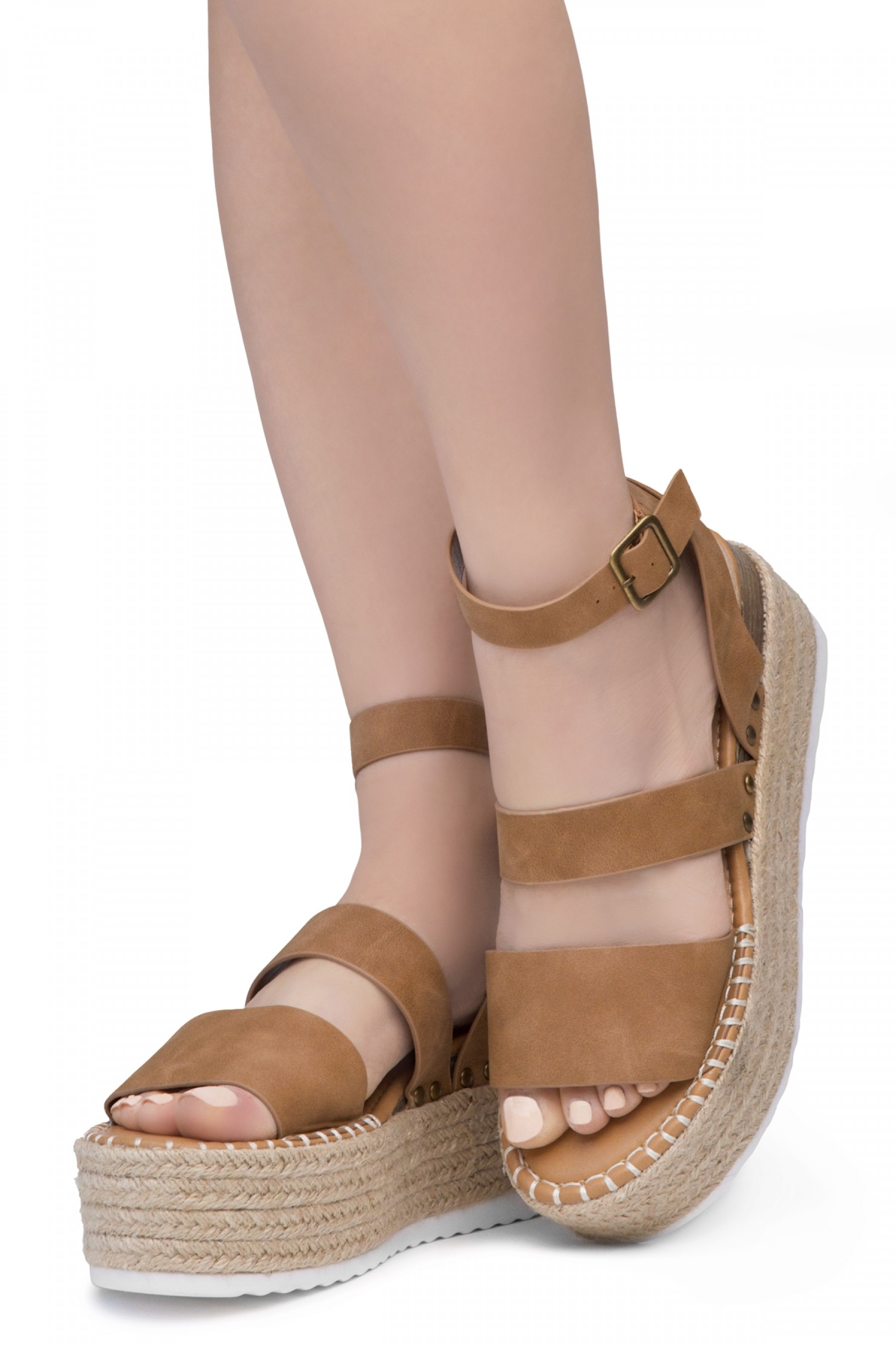 Shoe Land SL-Capri Womens Open Toe Ankle Strap Platform Sandals Causal Espadrille Wedge Shoes(Tan)