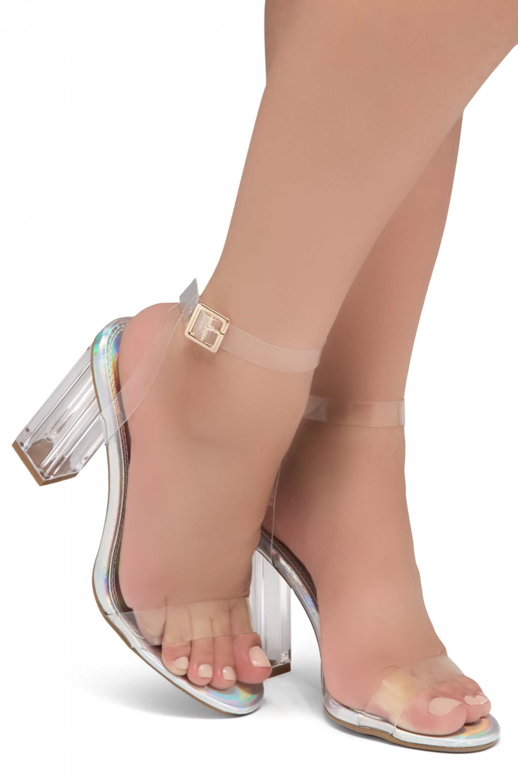 Shoe Land SL-Cllaary Perspex heel, ankle strap with an adjustable buckle (1801/ClearSilver)