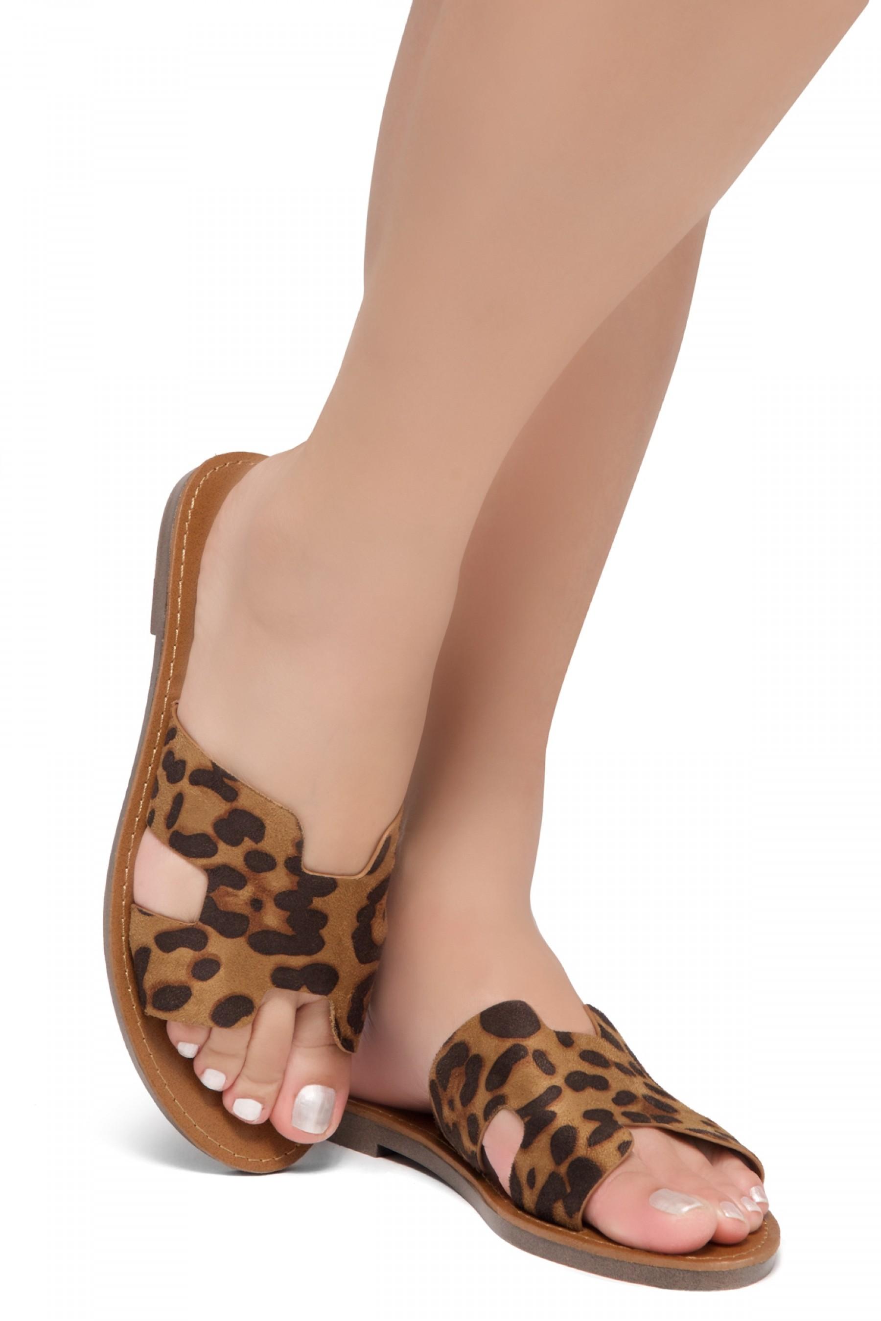Shoe Land SL-Greece- Lightweight Flat Easy Slide-On Sandals (Leopard)