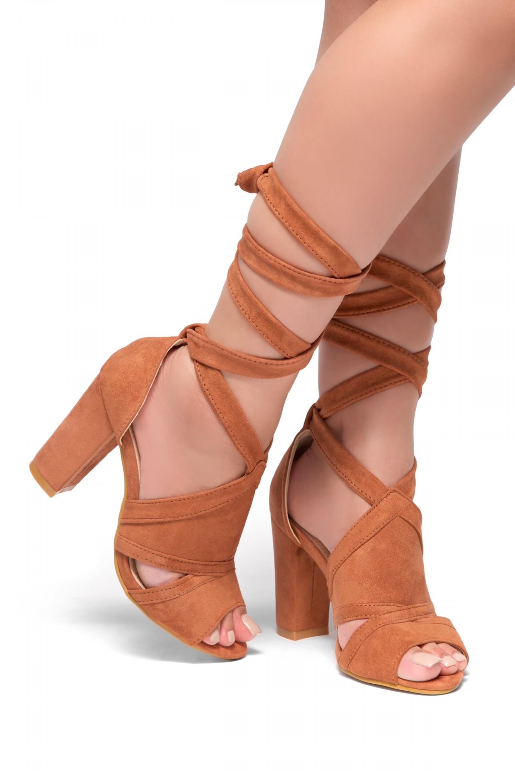HerStyle - SL-Joyce-Chunky heel, ankle lace-up (Mauve)