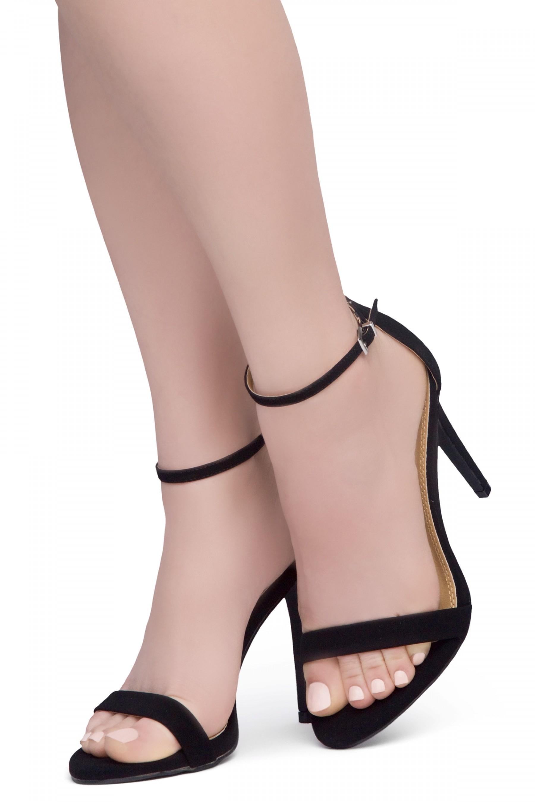 Shoe Land SL-Lovering- Ankle Strap Open Toe Back Closure Stiletto Heel (1896Black)