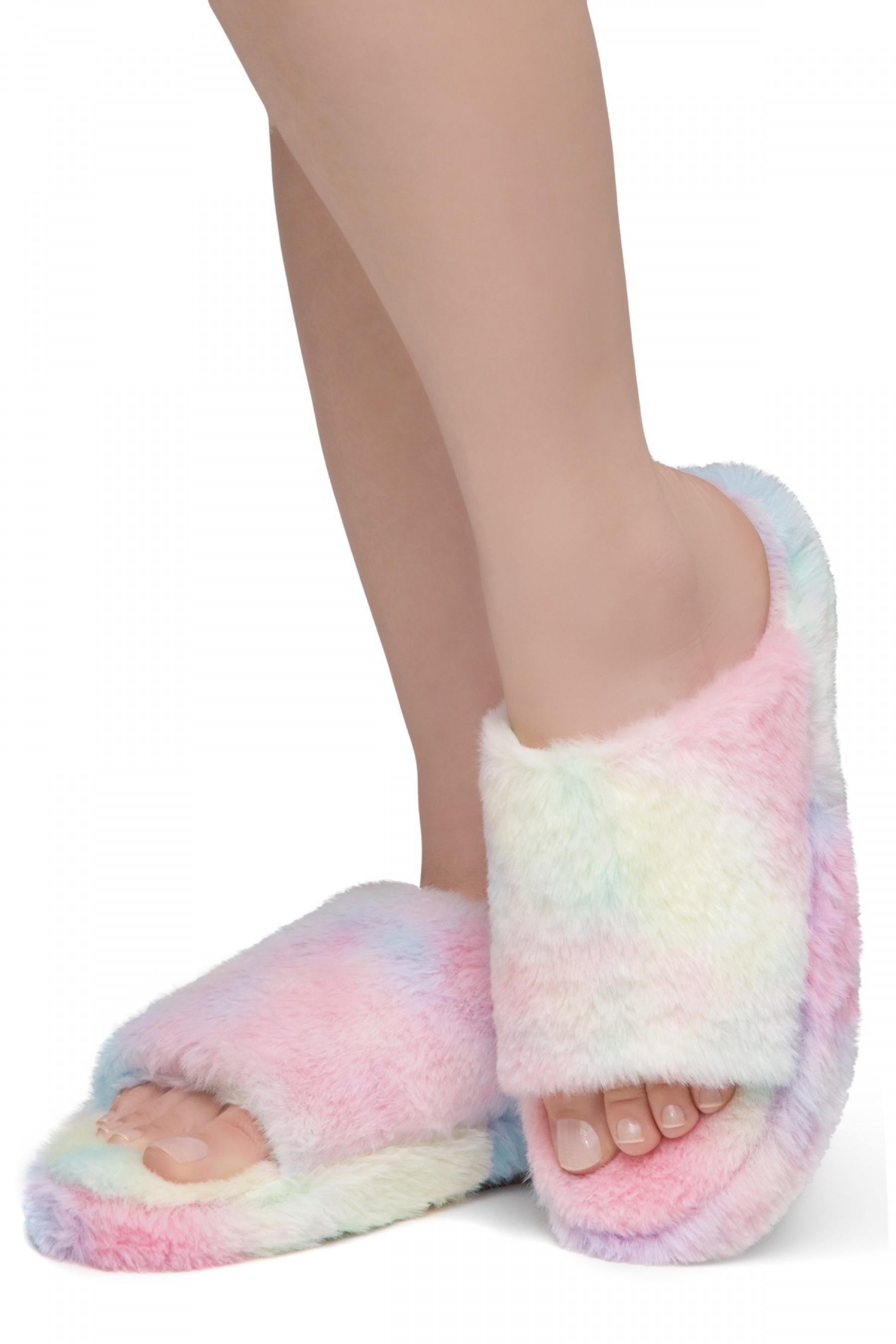 Shoe Land SL-McKenna Womens Fuzzy Slides Open Toe Casual Platform Wedge Sandals Plush Fleece Indoor or Outdoor Slippers (2020/MULT)