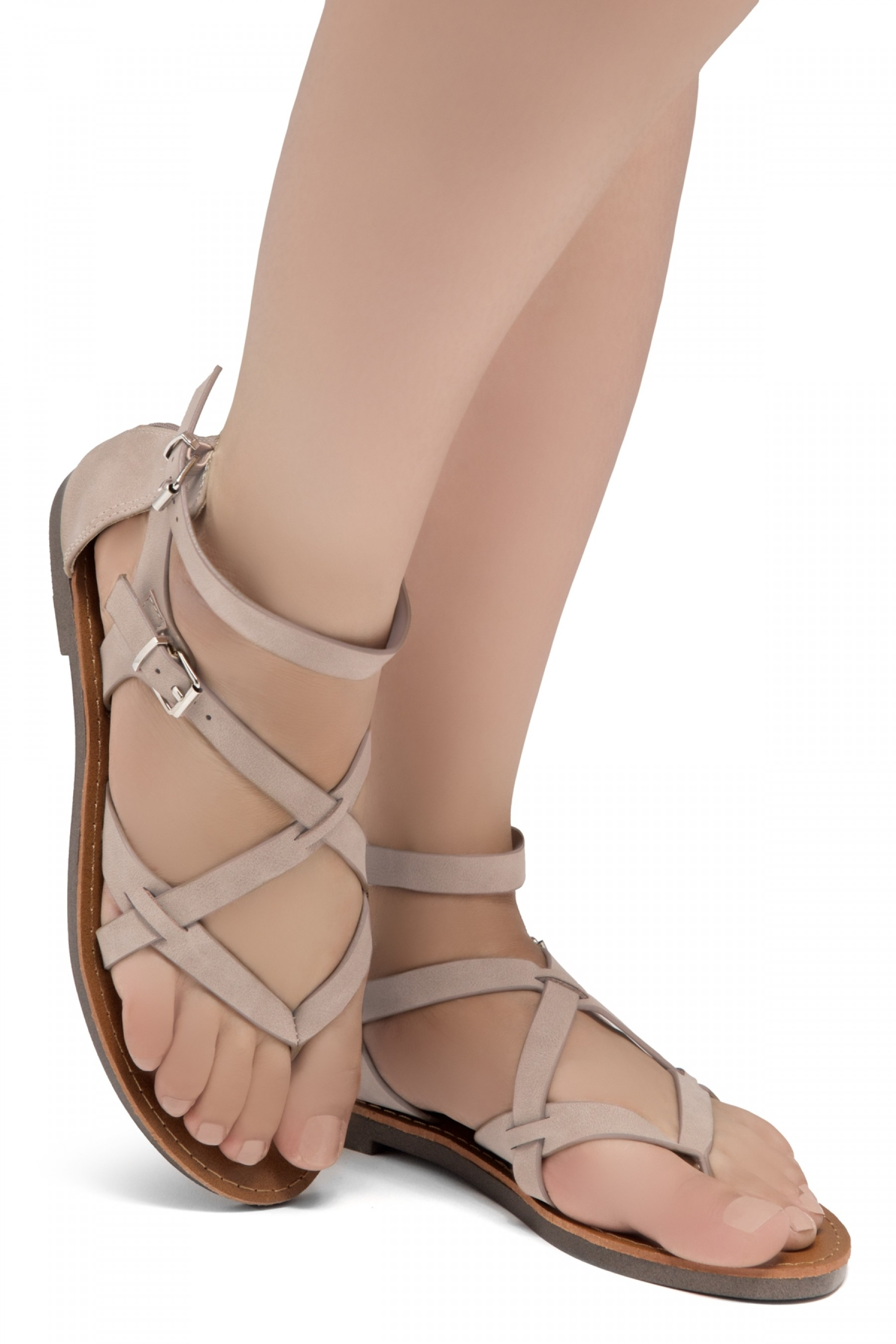 ShoeLand SL-Monaco Women's Open Toes Gladiator Flat Sandals Ankle Strap Thong Shoes(Nude)