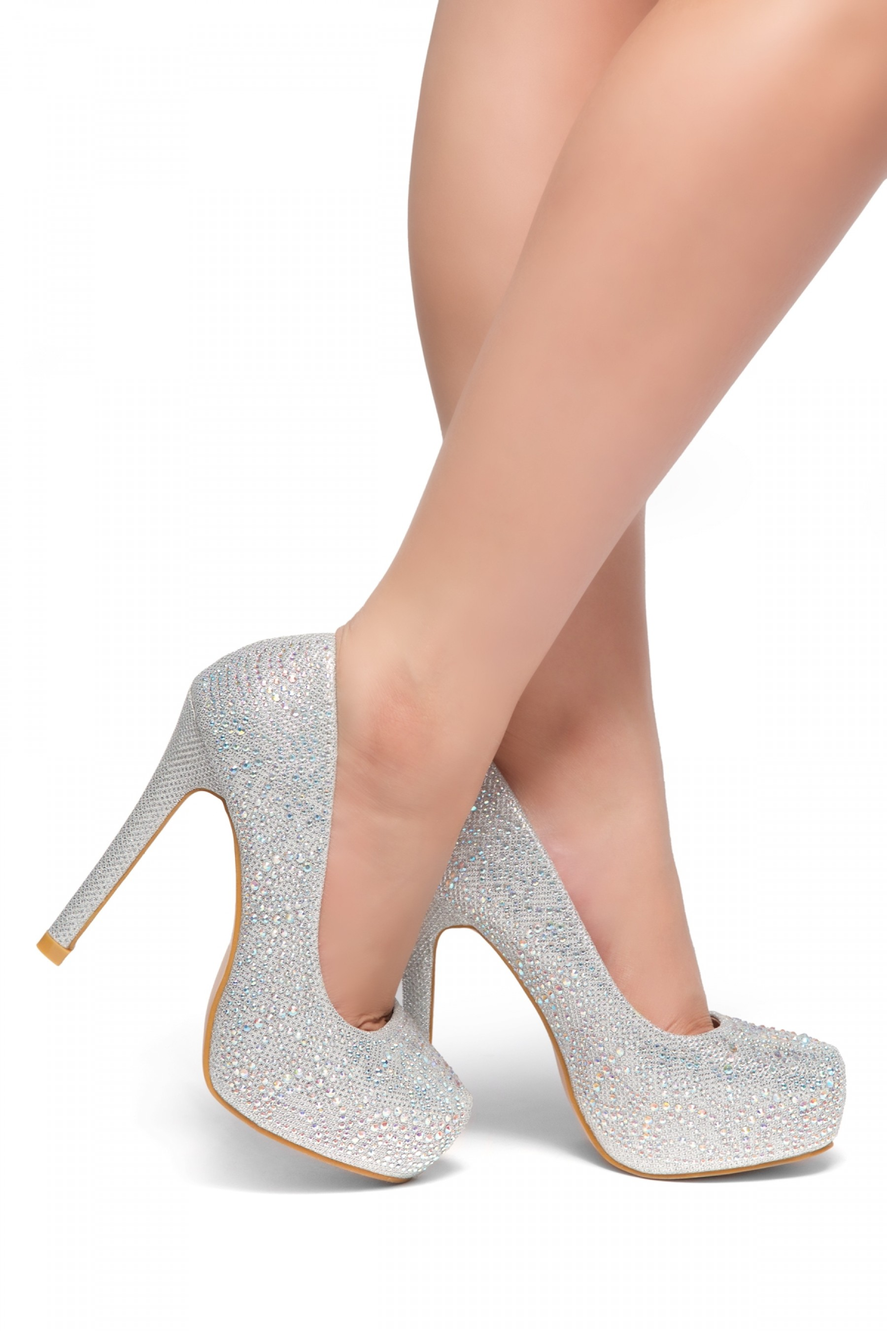 SL-Nandita--Stiletto heel Platform, Jeweled embellishments (Silver)
