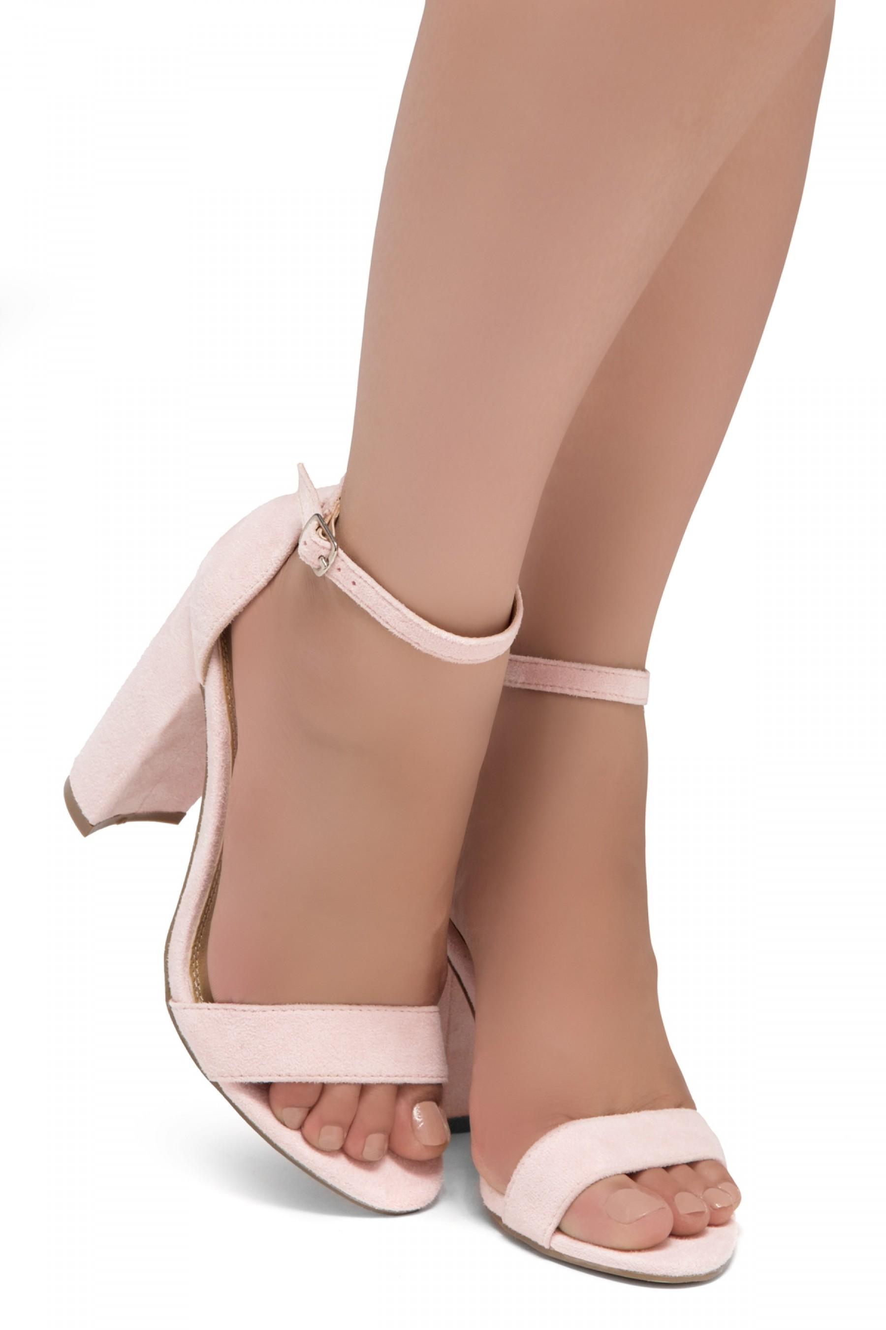 Shoe Land SL-Rosemmina Open Toe Ankle Strap Chunky Heel (Pink)