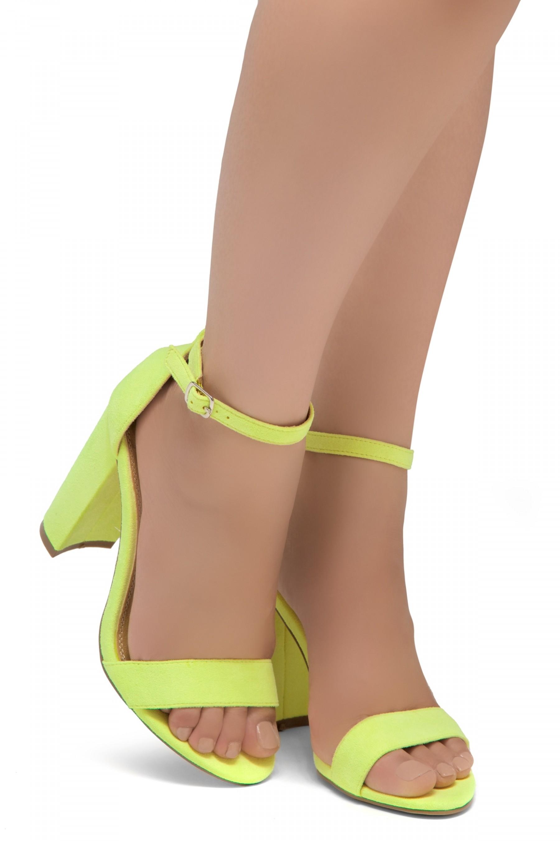 Shoe Land SL-Rosemmina Open Toe Ankle Strap Chunky Heel (YellowNeon)